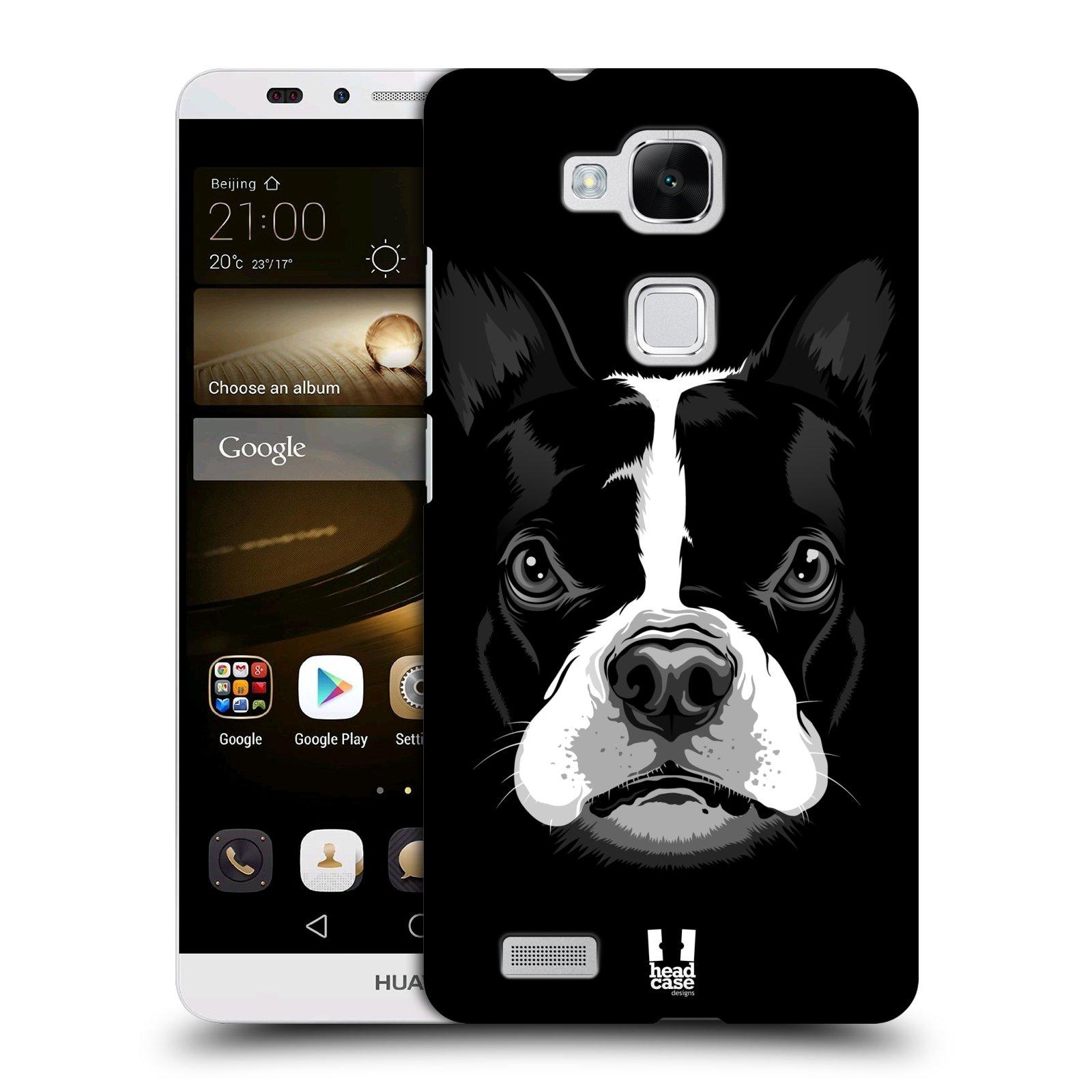HEAD CASE plastový obal na mobil Huawei Mate 7 vzor Zvíře kreslená tvář 2 buldok