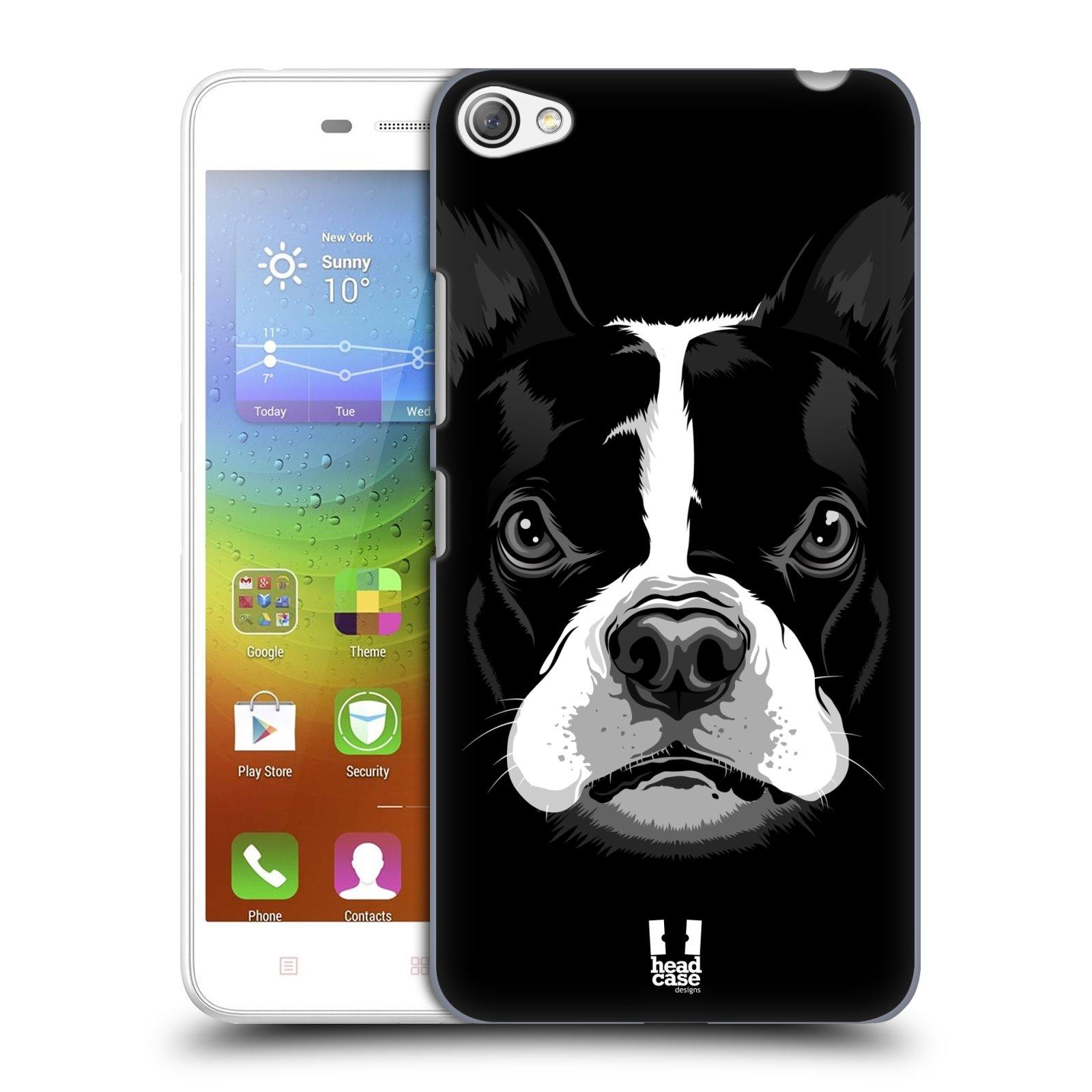 HEAD CASE pevný plastový obal na mobil LENOVO S60 / LENOVO S60 DUAL SIM vzor Zvíře kreslená tvář 2 buldok