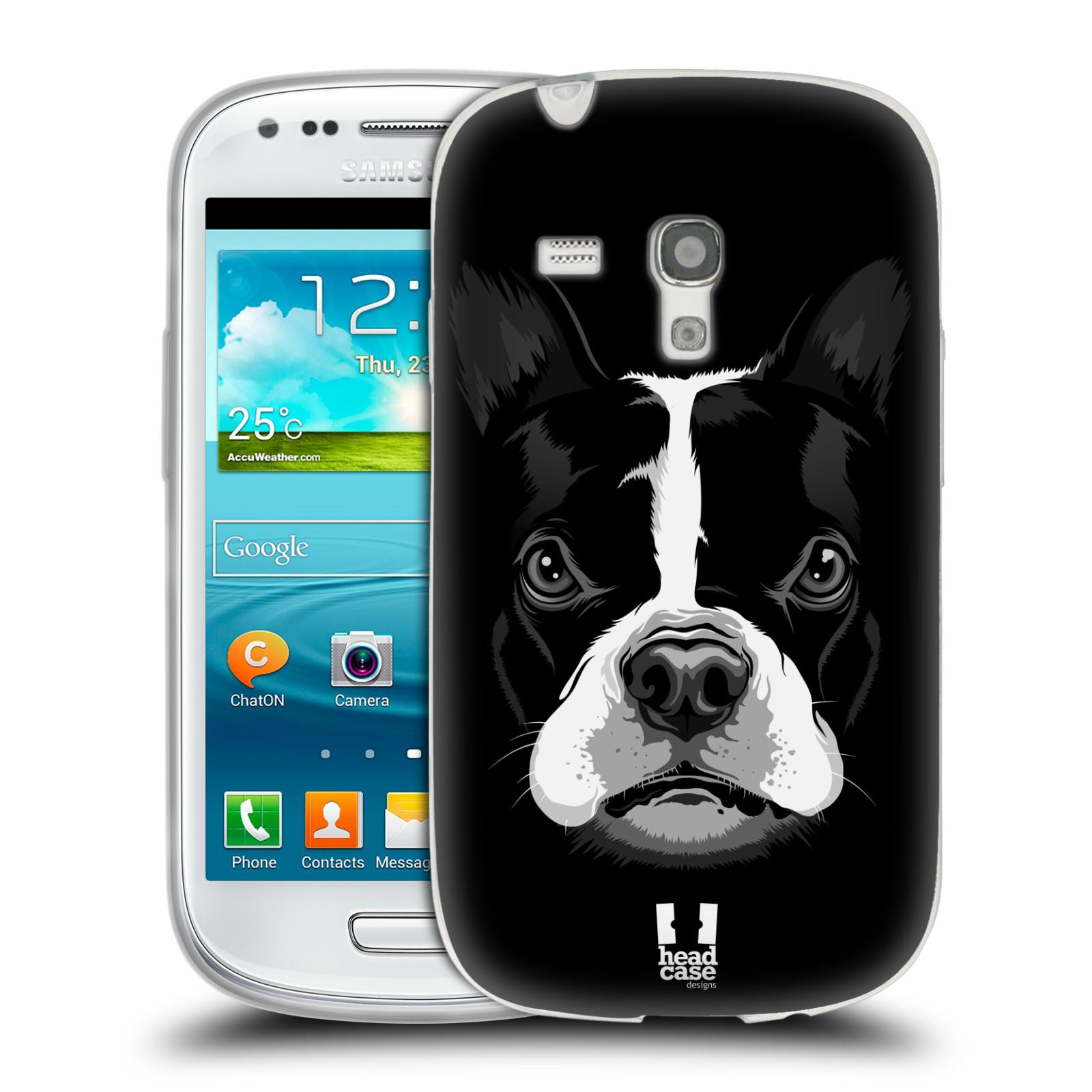 HEAD CASE silikonový obal na mobil Samsung Galaxy S3 MINI i8190 vzor Zvíře kreslená tvář 2 buldok