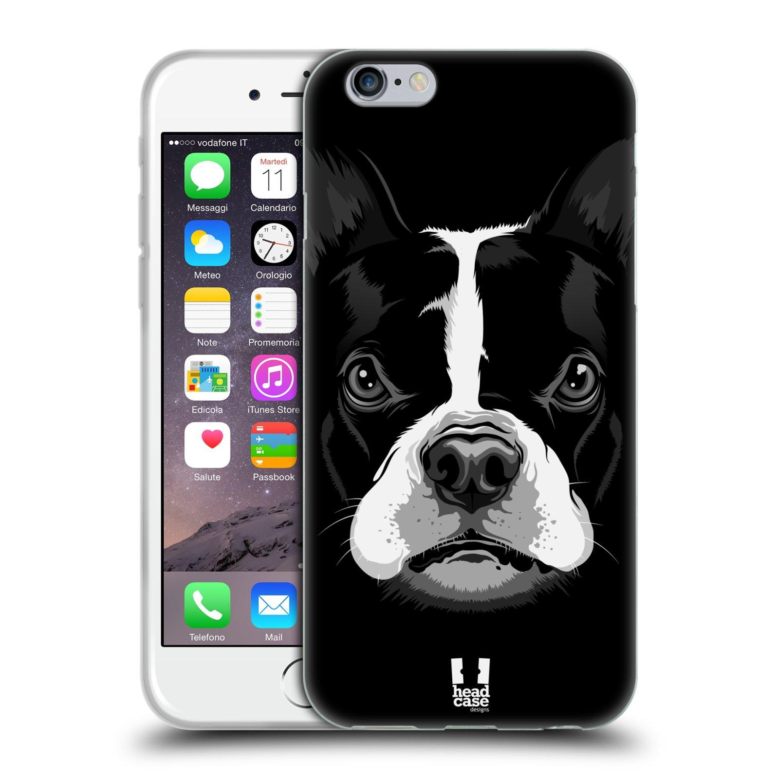 HEAD CASE silikonový obal na mobil Apple Iphone 6/6S vzor Zvíře kreslená tvář 2 buldok