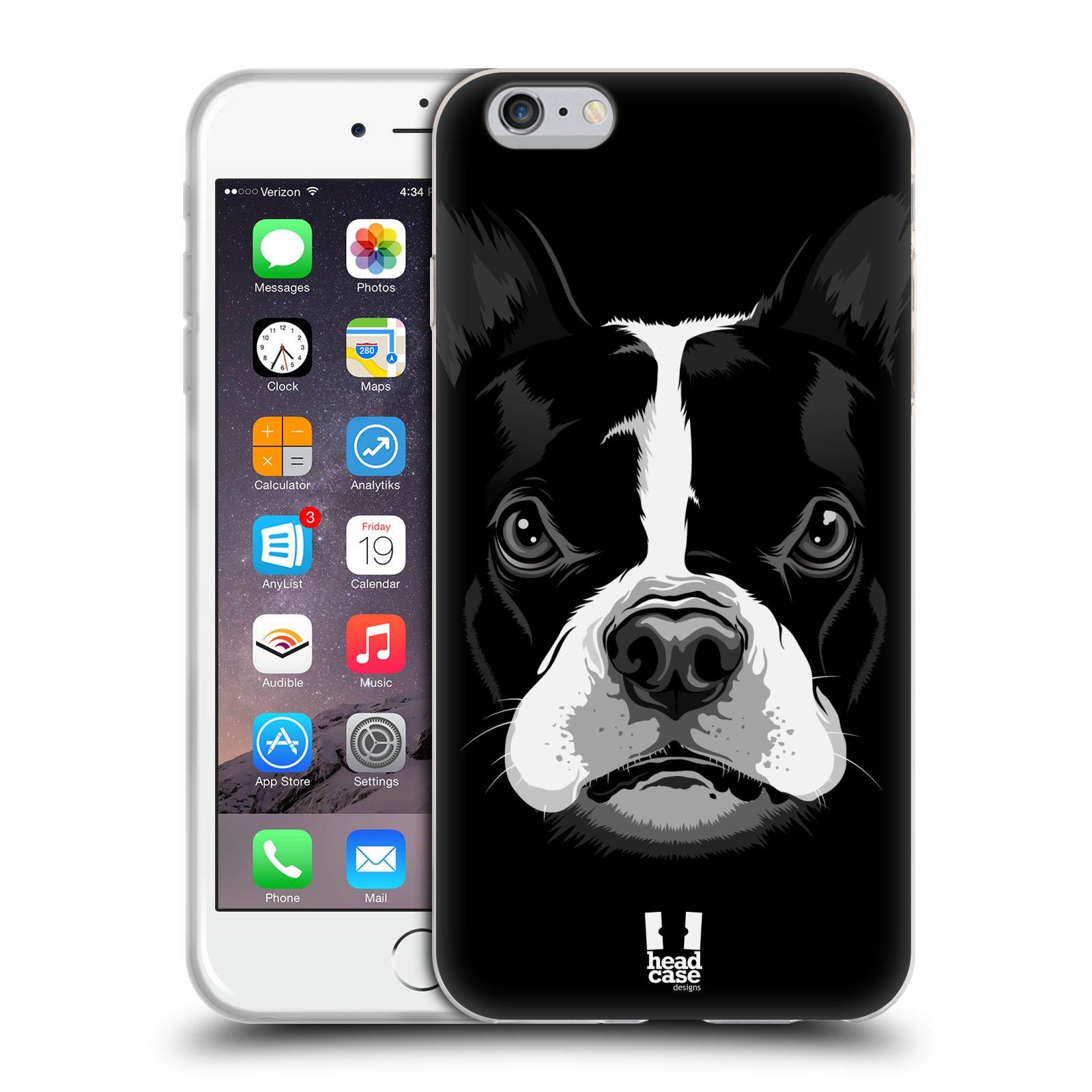 HEAD CASE silikonový obal na mobil Apple Iphone 6 PLUS/ 6S PLUS vzor Zvíře kreslená tvář 2 buldok