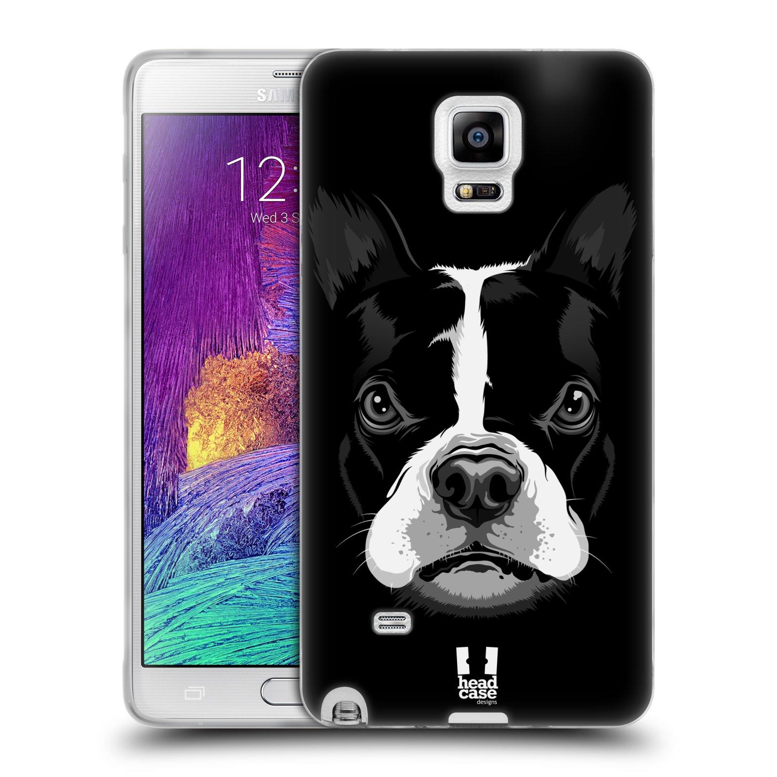 HEAD CASE silikonový obal na mobil Samsung Galaxy Note 4 (N910) vzor Zvíře kreslená tvář 2 buldok