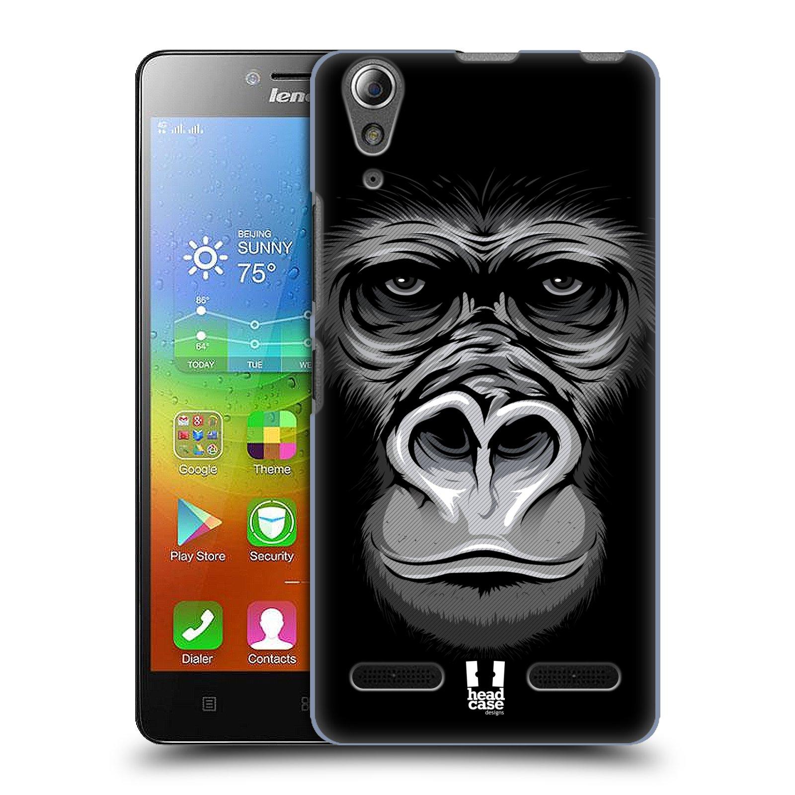 HEAD CASE pevný plastový obal na mobil LENOVO A6000 / A6000 PLUS vzor Zvíře kreslená tvář 2 gorila