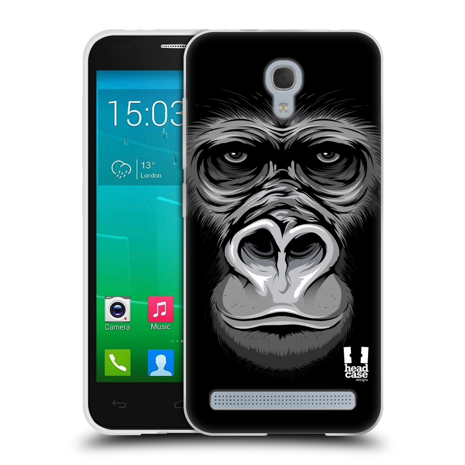 HEAD CASE silikonový obal na mobil Alcatel Idol 2 MINI S 6036Y vzor Zvíře kreslená tvář 2 gorila