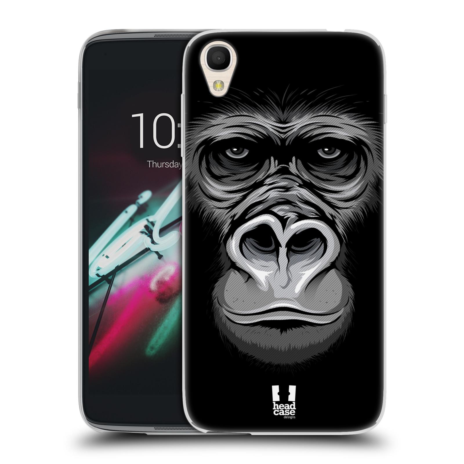 HEAD CASE silikonový obal na mobil Alcatel Idol 3 OT-6039Y (4.7) vzor Zvíře kreslená tvář 2 gorila
