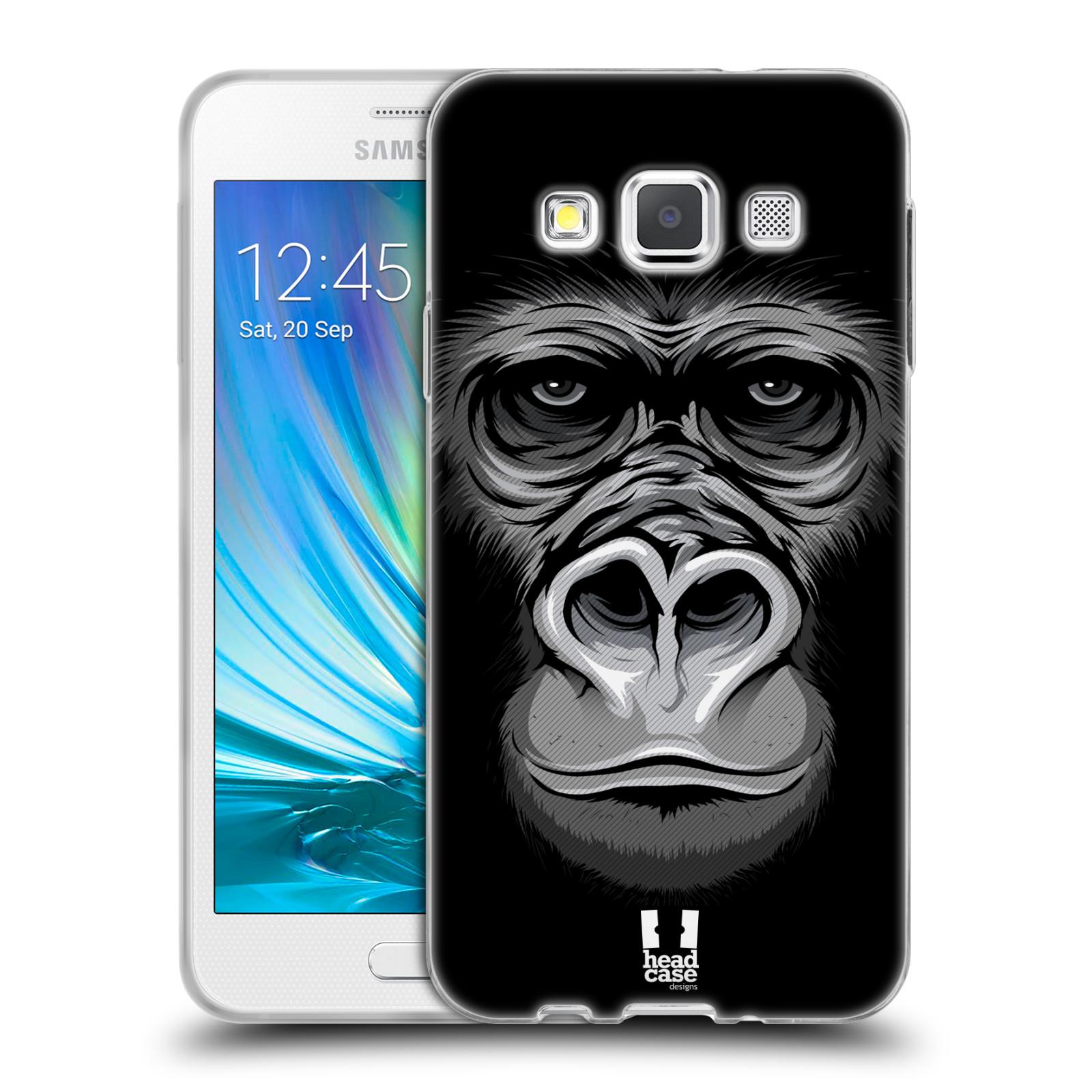 HEAD CASE silikonový obal na mobil Samsung Galaxy A3 vzor Zvíře kreslená tvář 2 gorila