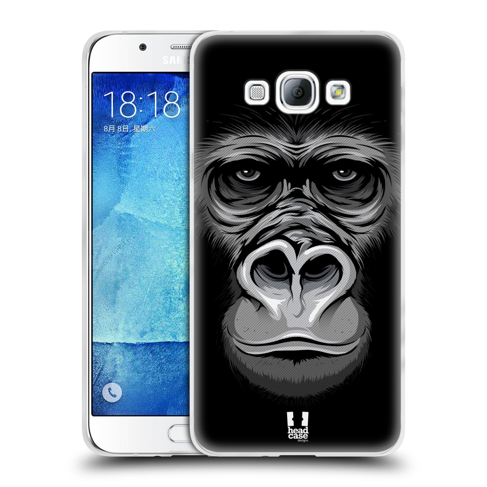 HEAD CASE silikonový obal na mobil Samsung Galaxy A8 vzor Zvíře kreslená tvář 2 gorila