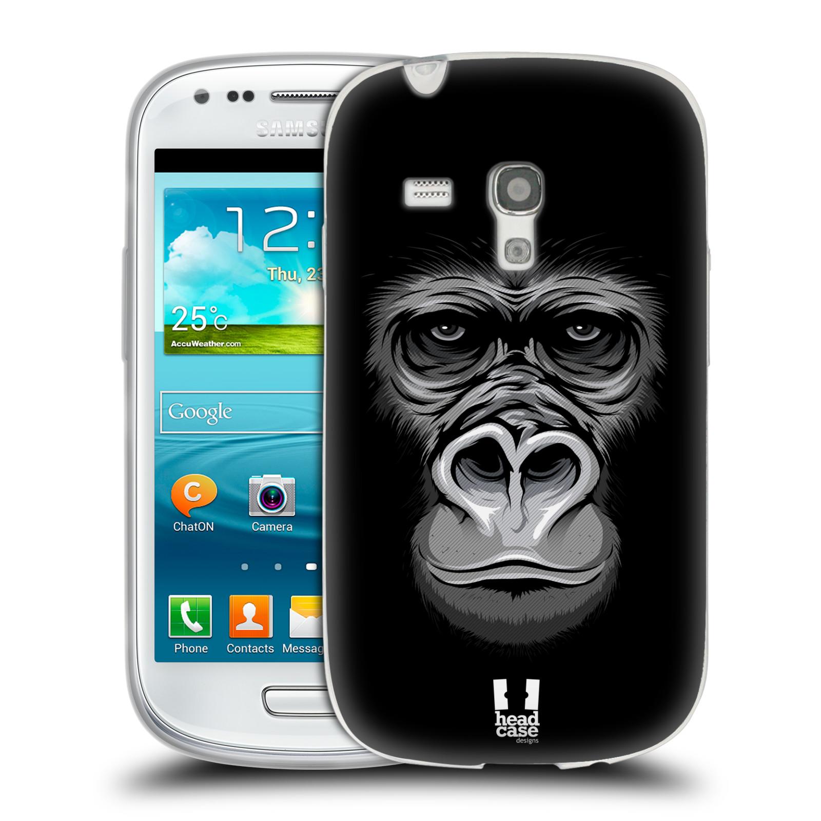 HEAD CASE silikonový obal na mobil Samsung Galaxy S3 MINI i8190 vzor Zvíře kreslená tvář 2 gorila