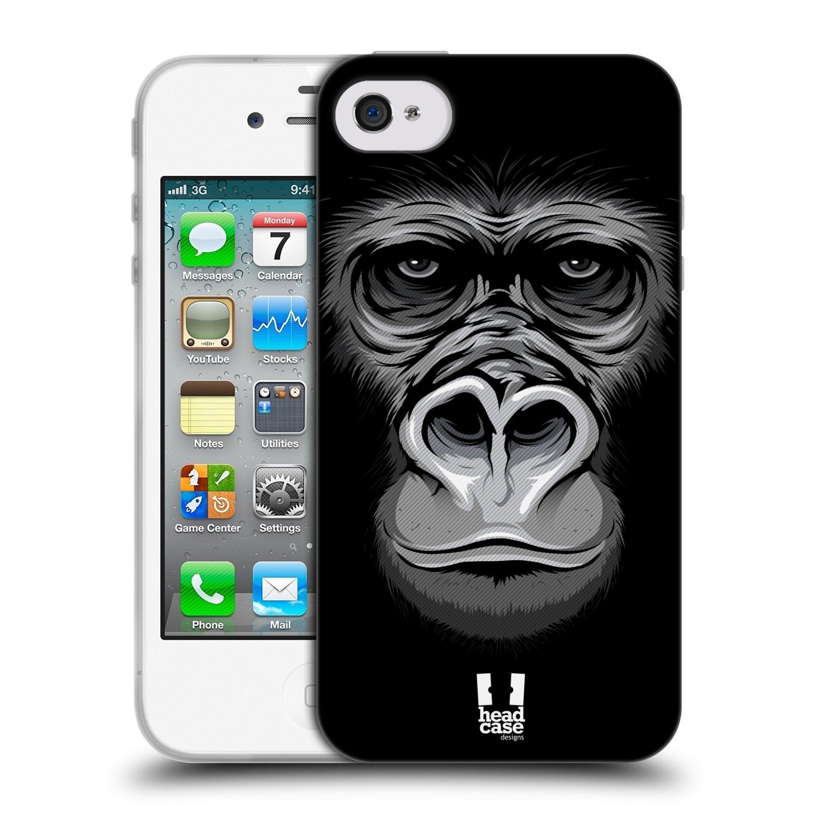 HEAD CASE silikonový obal na mobil Apple Iphone 4/4S vzor Zvíře kreslená tvář 2 gorila