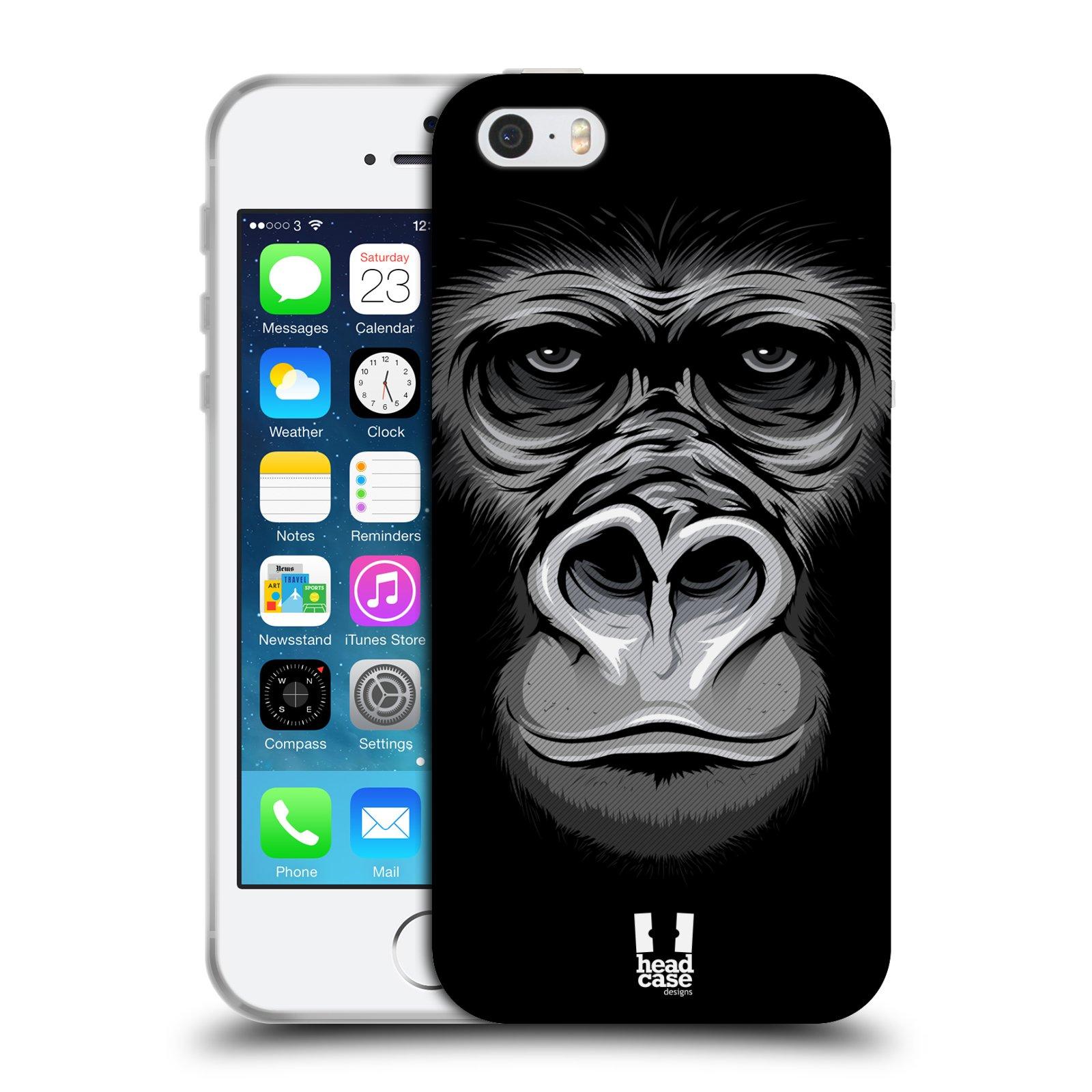 HEAD CASE silikonový obal na mobil Apple Iphone 5/5S vzor Zvíře kreslená tvář 2 gorila