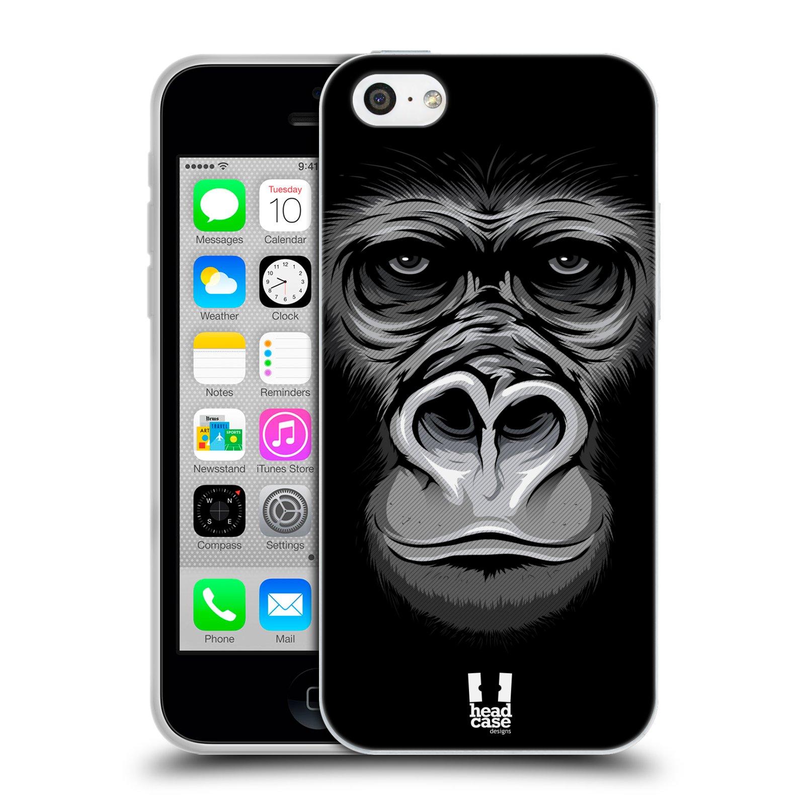 HEAD CASE silikonový obal na mobil Apple Iphone 5C vzor Zvíře kreslená tvář 2 gorila