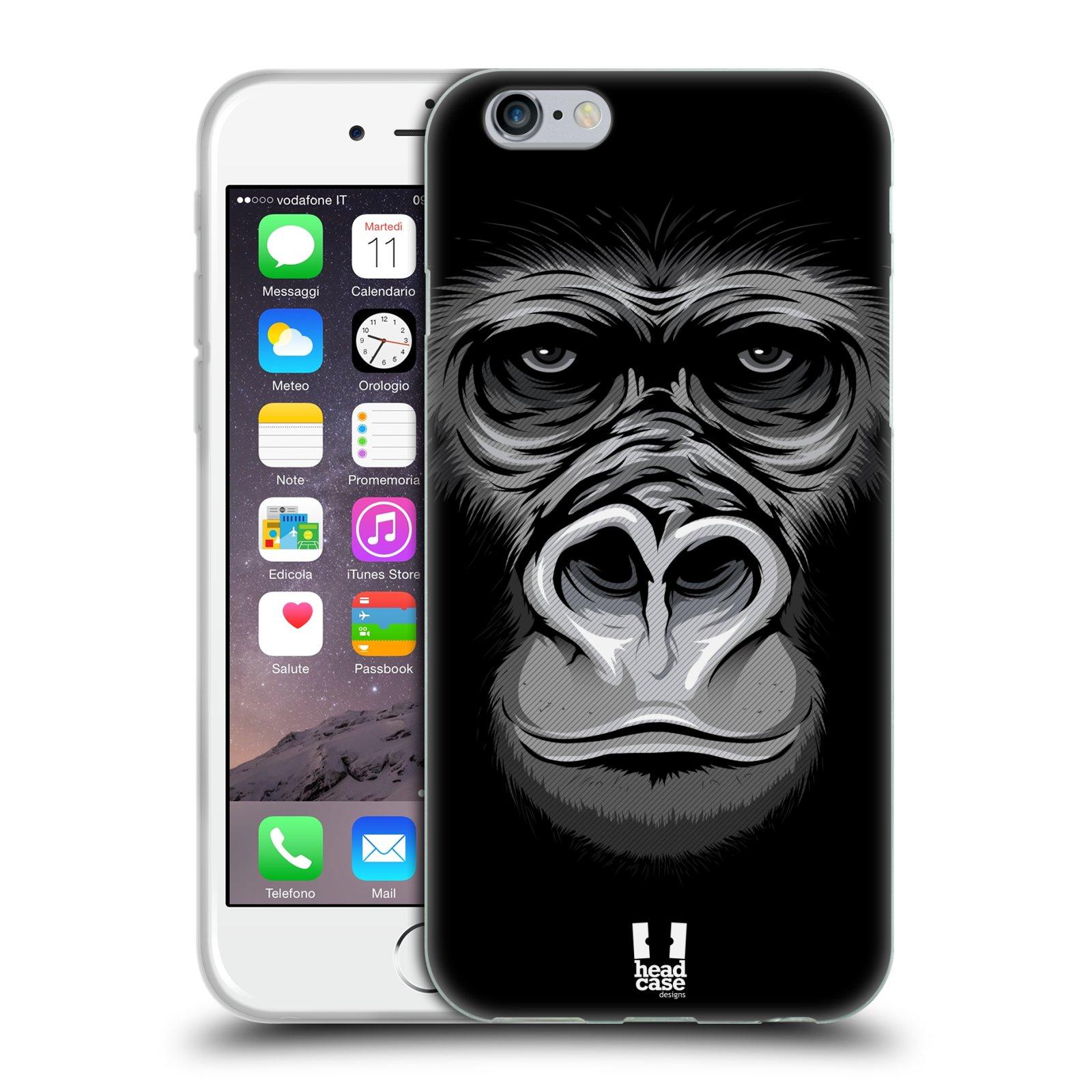 HEAD CASE silikonový obal na mobil Apple Iphone 6/6S vzor Zvíře kreslená tvář 2 gorila