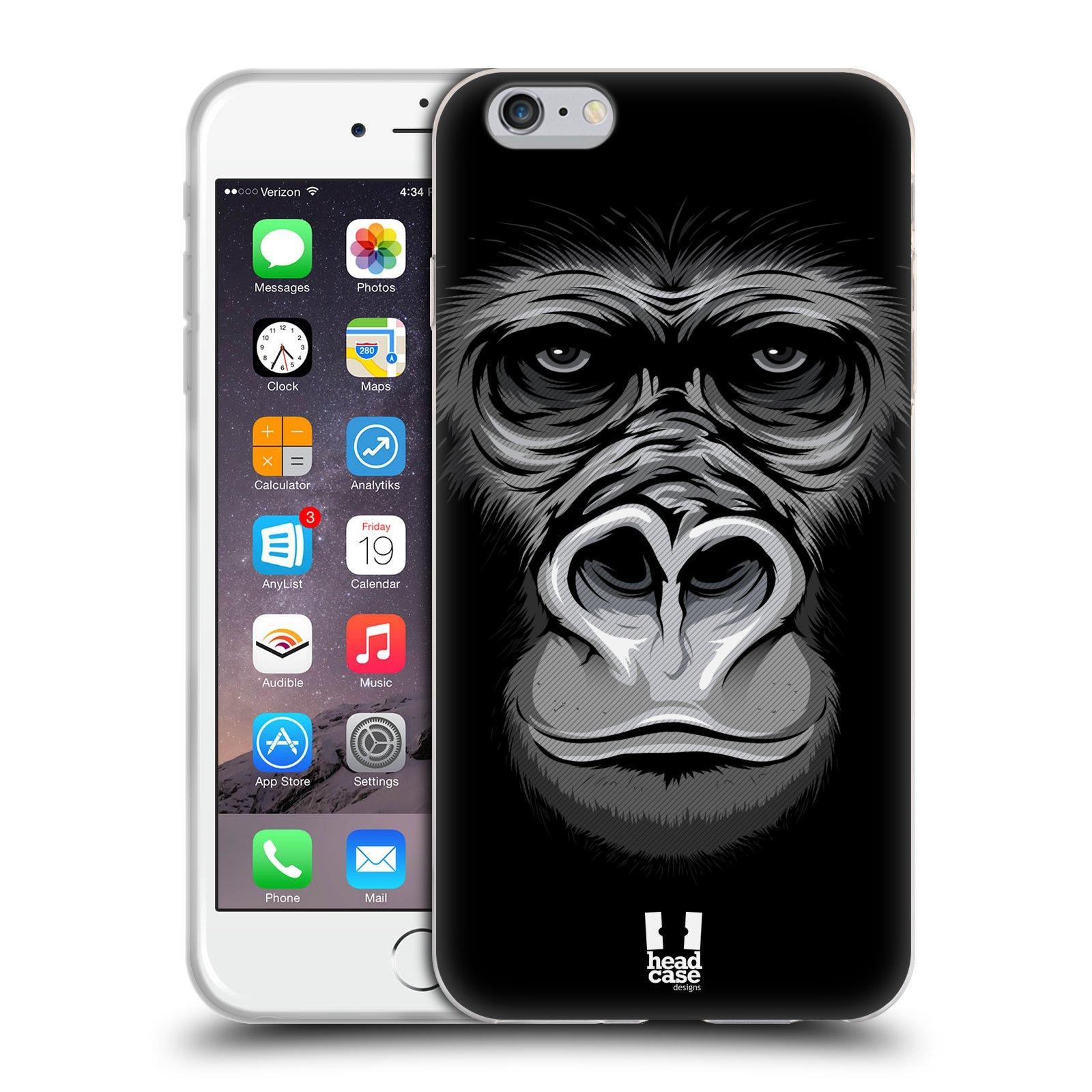 HEAD CASE silikonový obal na mobil Apple Iphone 6 PLUS/ 6S PLUS vzor Zvíře kreslená tvář 2 gorila