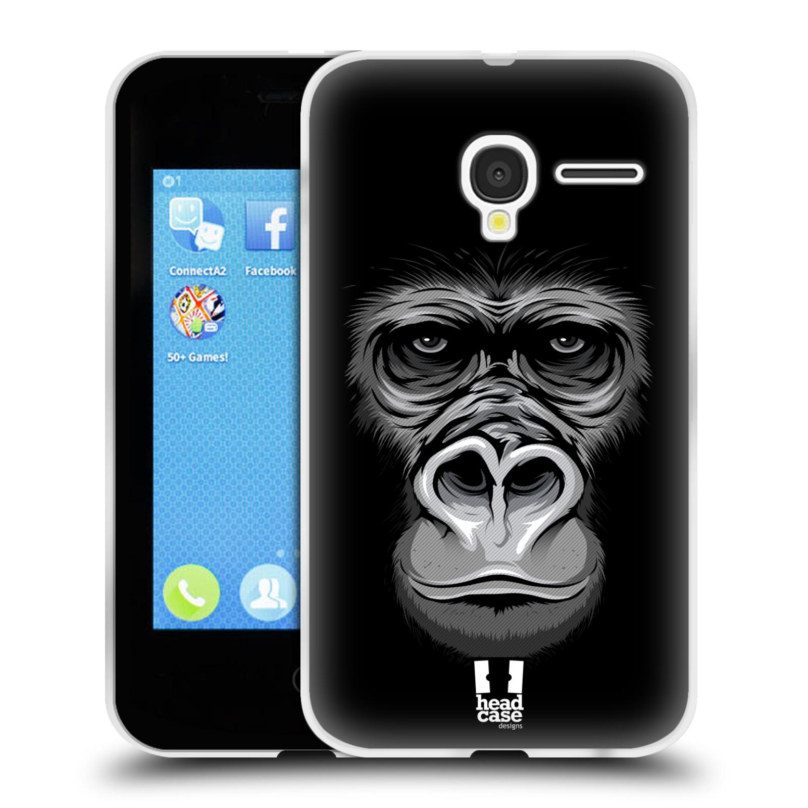 HEAD CASE silikonový obal na mobil Alcatel PIXI 3 OT-4022D (3,5 palcový displej) vzor Zvíře kreslená tvář 2 gorila