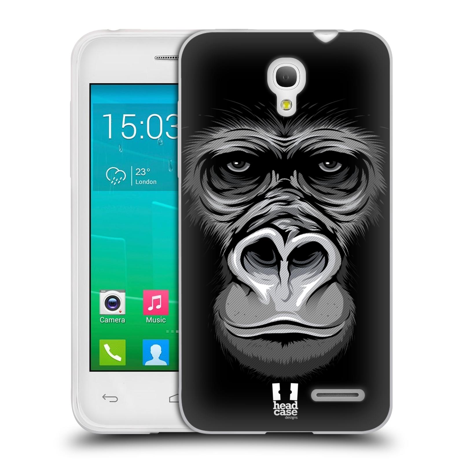 HEAD CASE silikonový obal na mobil Alcatel POP S3 OT-5050Y vzor Zvíře kreslená tvář 2 gorila