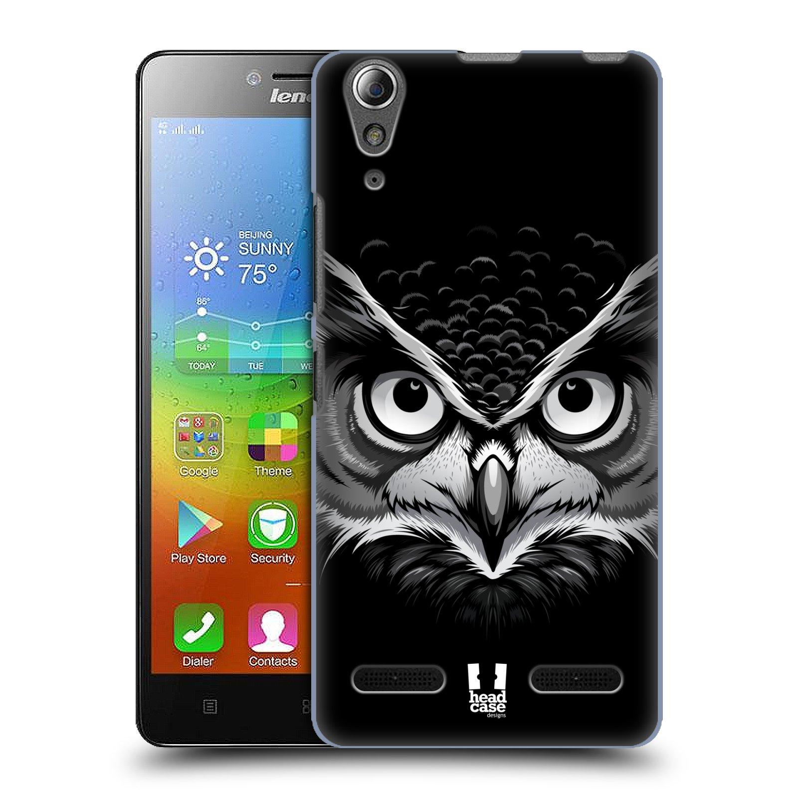 HEAD CASE pevný plastový obal na mobil LENOVO A6000 / A6000 PLUS vzor Zvíře kreslená tvář 2 sova