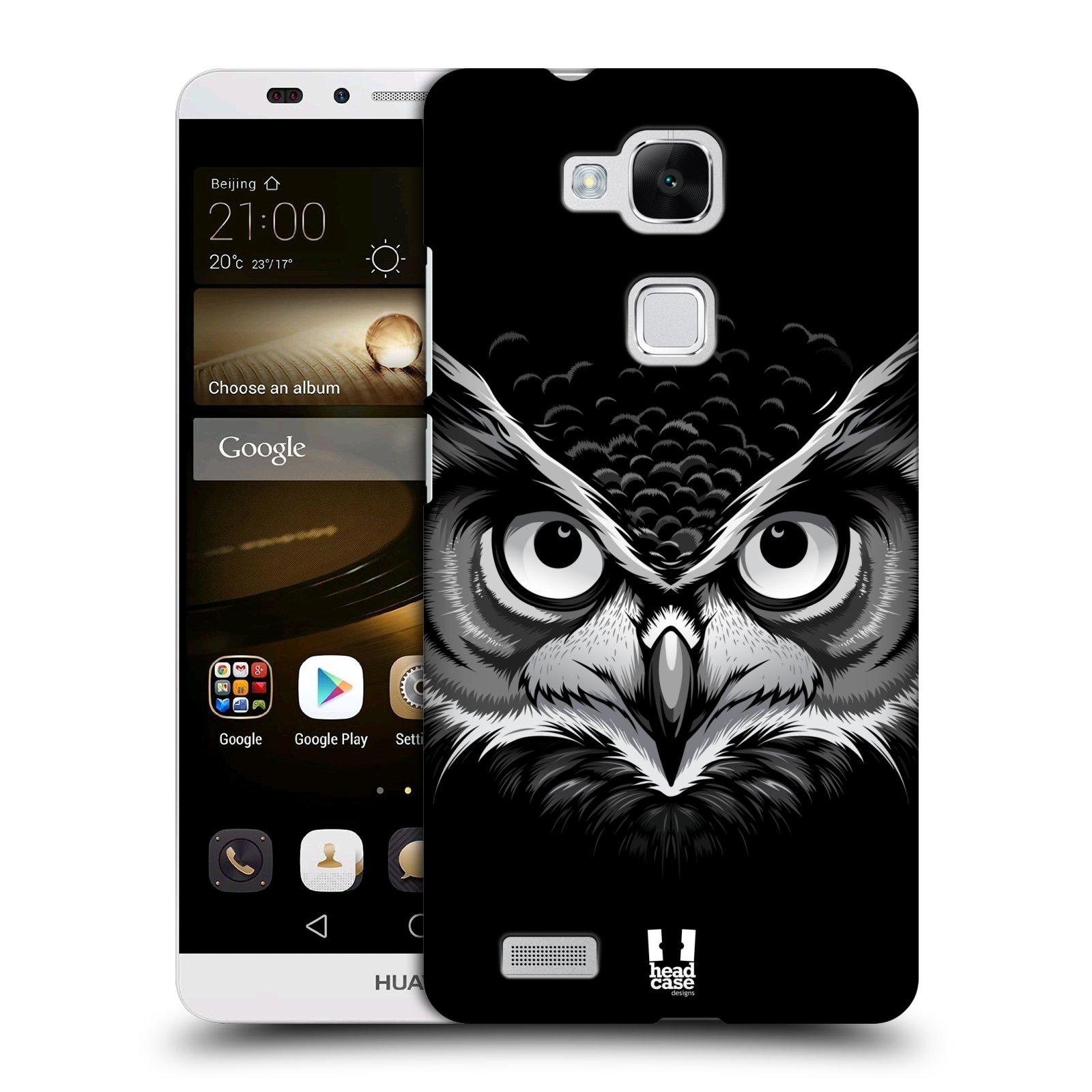 HEAD CASE plastový obal na mobil Huawei Mate 7 vzor Zvíře kreslená tvář 2 sova