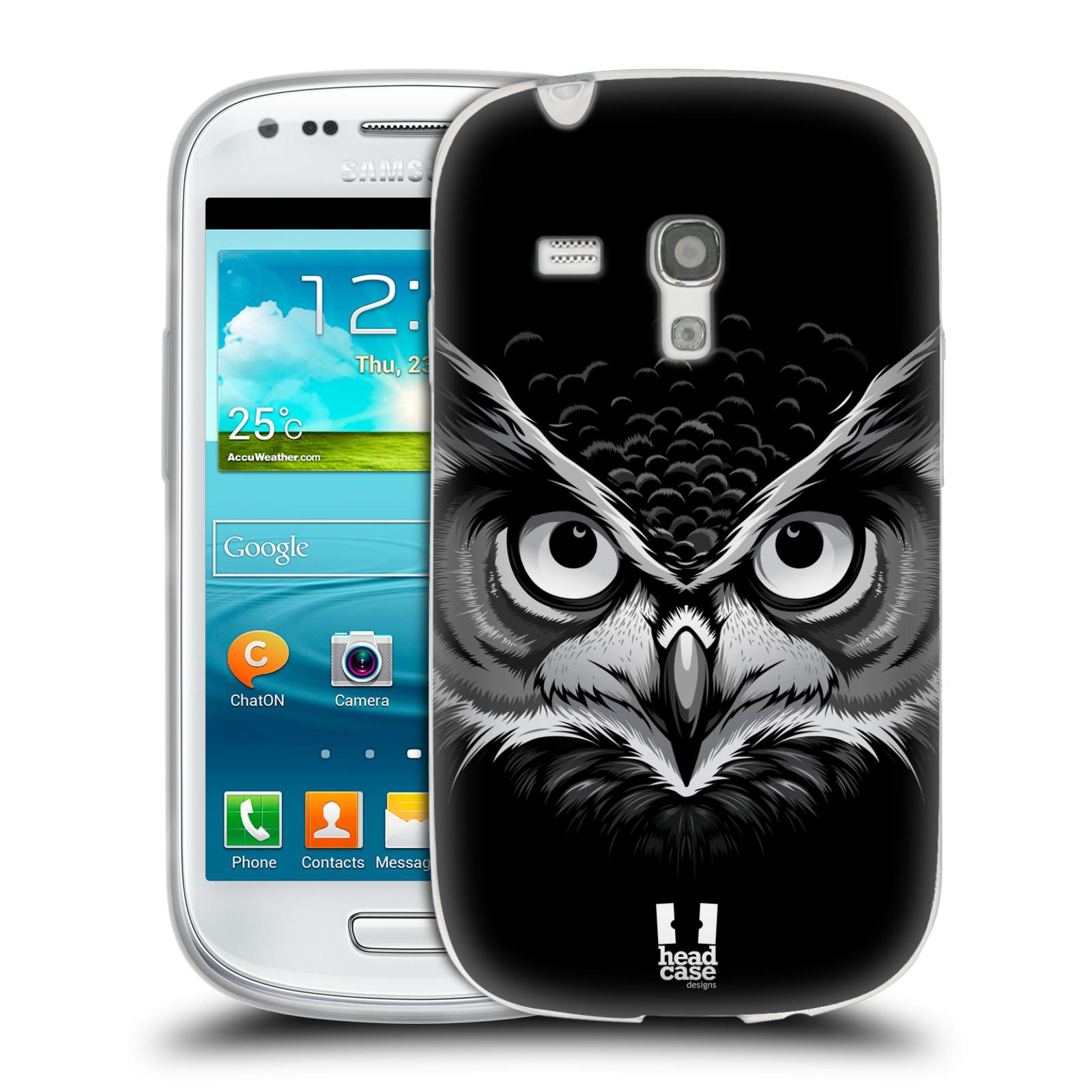 HEAD CASE silikonový obal na mobil Samsung Galaxy S3 MINI i8190 vzor Zvíře kreslená tvář 2 sova
