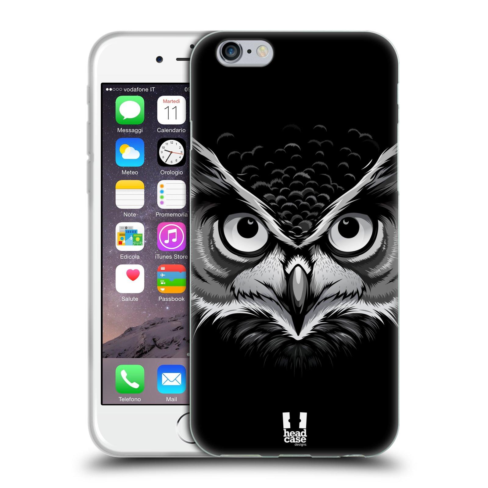 HEAD CASE silikonový obal na mobil Apple Iphone 6/6S vzor Zvíře kreslená tvář 2 sova