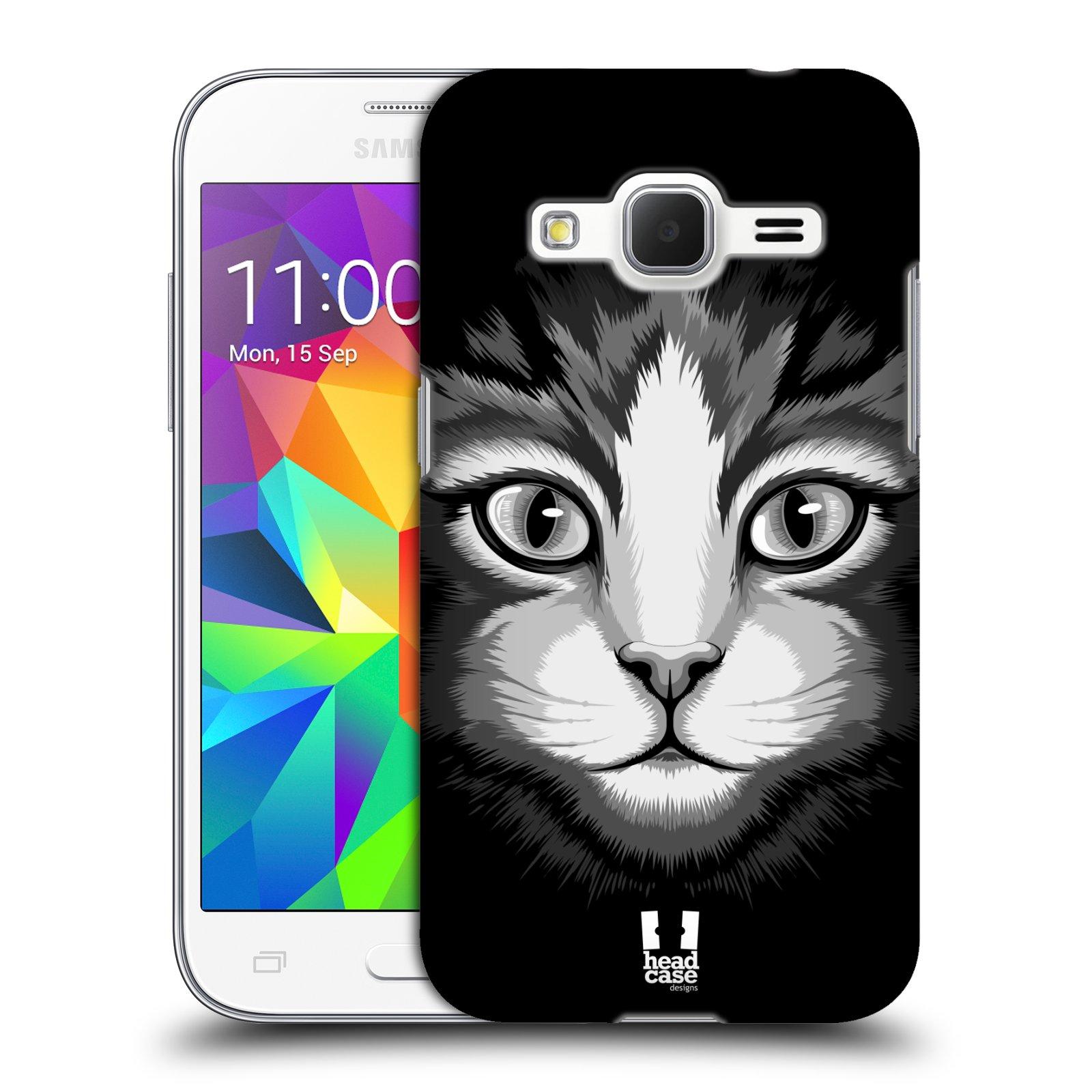 HEAD CASE plastový obal na mobil SAMSUNG GALAXY Core Prime (Core Prime VE) vzor Zvíře kreslená tvář 2 kočička