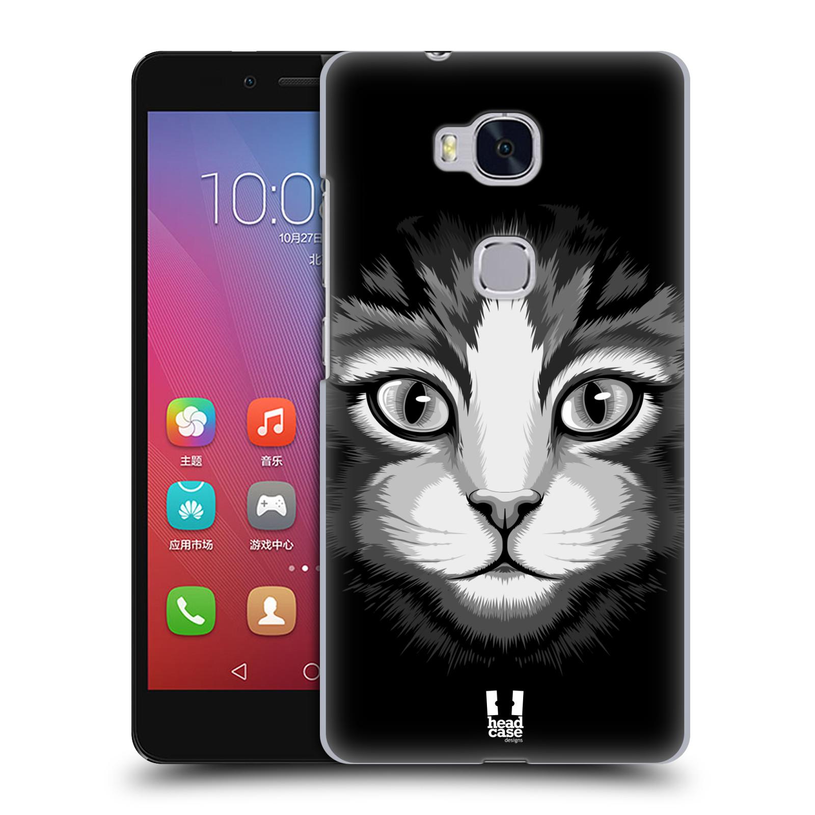 HEAD CASE pevný plastový obal na mobil HUAWEI HONOR 5X vzor Zvíře kreslená tvář 2 kočička