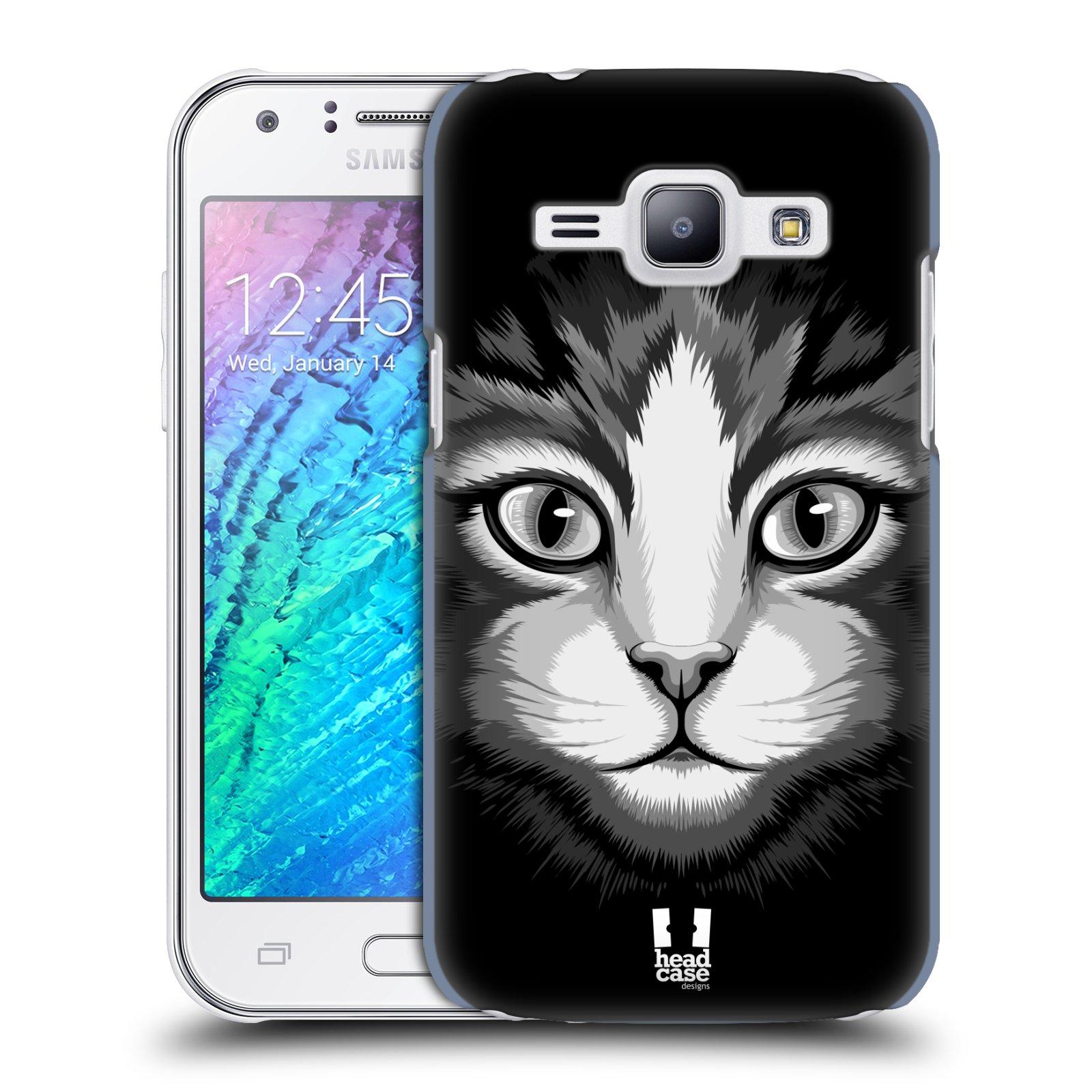 HEAD CASE plastový obal na mobil SAMSUNG Galaxy J1, J100 vzor Zvíře kreslená tvář 2 kočička
