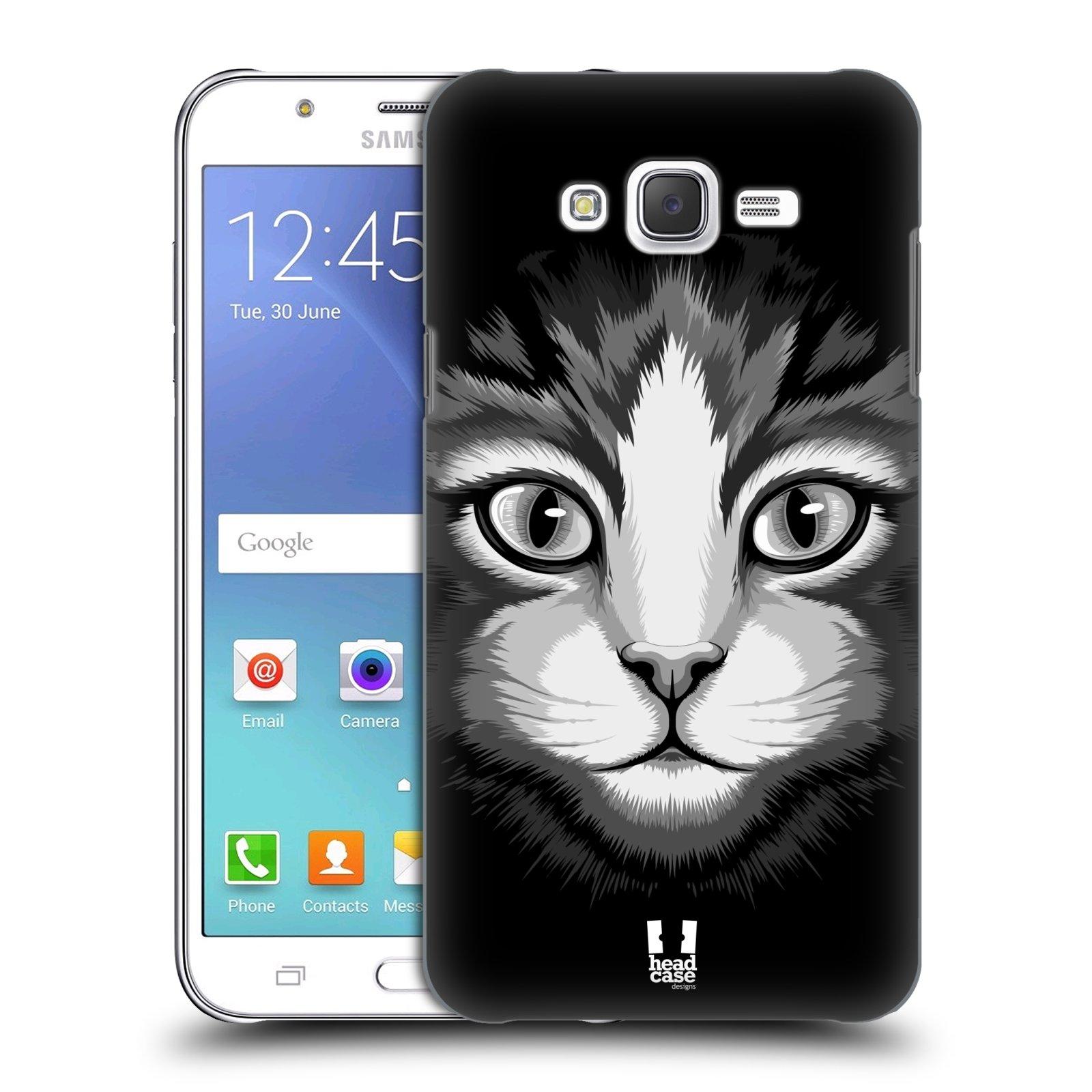 HEAD CASE plastový obal na mobil SAMSUNG Galaxy J7, J700 vzor Zvíře kreslená tvář 2 kočička