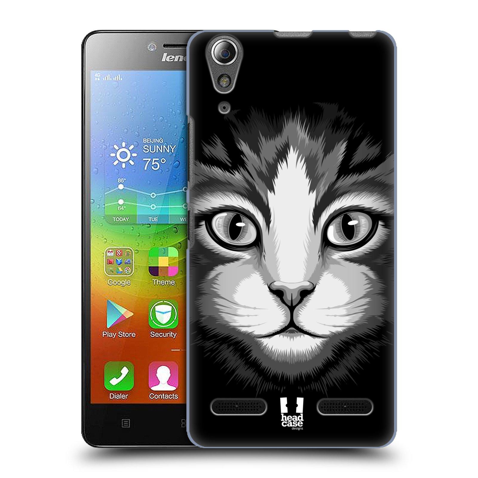 HEAD CASE pevný plastový obal na mobil LENOVO A6000 / A6000 PLUS vzor Zvíře kreslená tvář 2 kočička