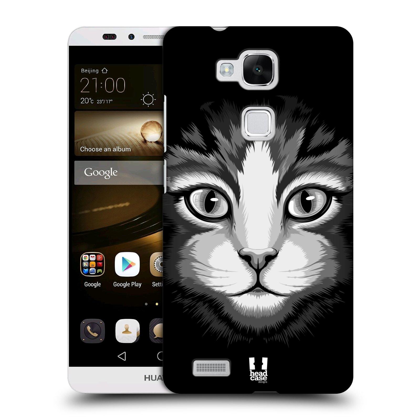 HEAD CASE plastový obal na mobil Huawei Mate 7 vzor Zvíře kreslená tvář 2 kočička