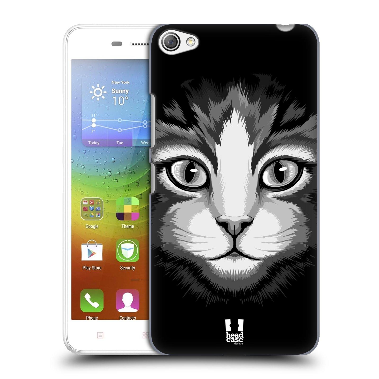 HEAD CASE pevný plastový obal na mobil LENOVO S60 / LENOVO S60 DUAL SIM vzor Zvíře kreslená tvář 2 kočička