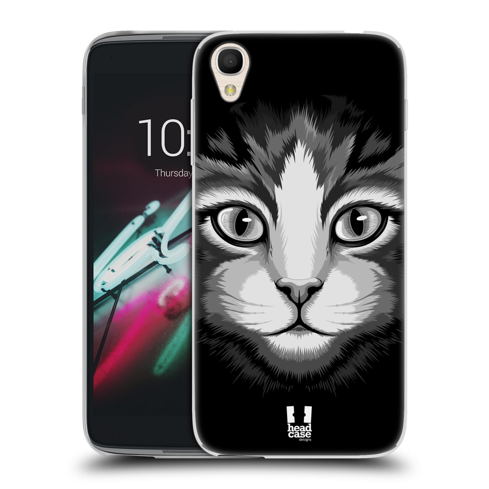 HEAD CASE silikonový obal na mobil Alcatel Idol 3 OT-6039Y (4.7) vzor Zvíře kreslená tvář 2 kočička