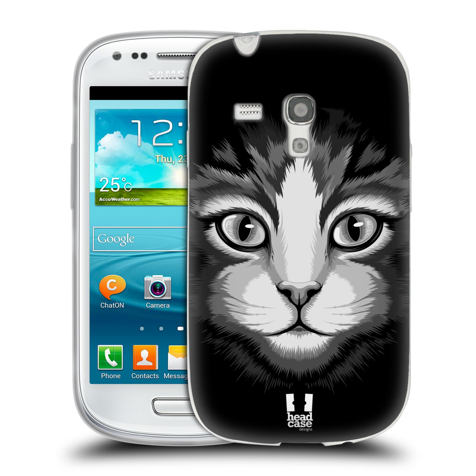 HEAD CASE silikonový obal na mobil Samsung Galaxy S3 MINI i8190 vzor Zvíře kreslená tvář 2 kočička