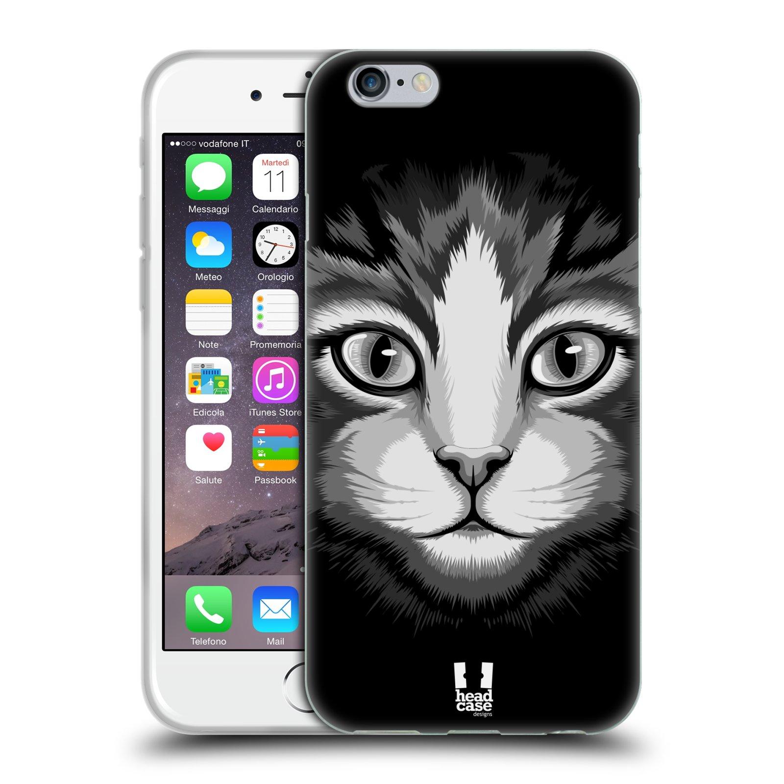 HEAD CASE silikonový obal na mobil Apple Iphone 6/6S vzor Zvíře kreslená tvář 2 kočička
