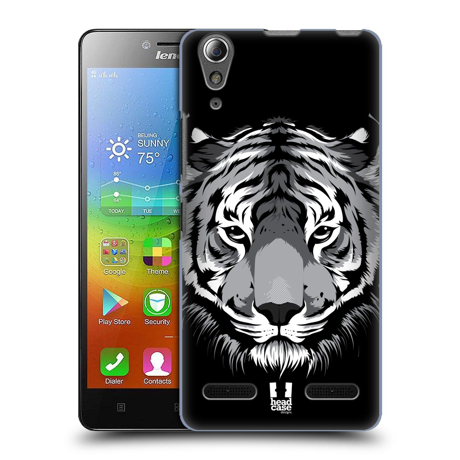 HEAD CASE pevný plastový obal na mobil LENOVO A6000 / A6000 PLUS vzor Zvíře kreslená tvář 2 tygr