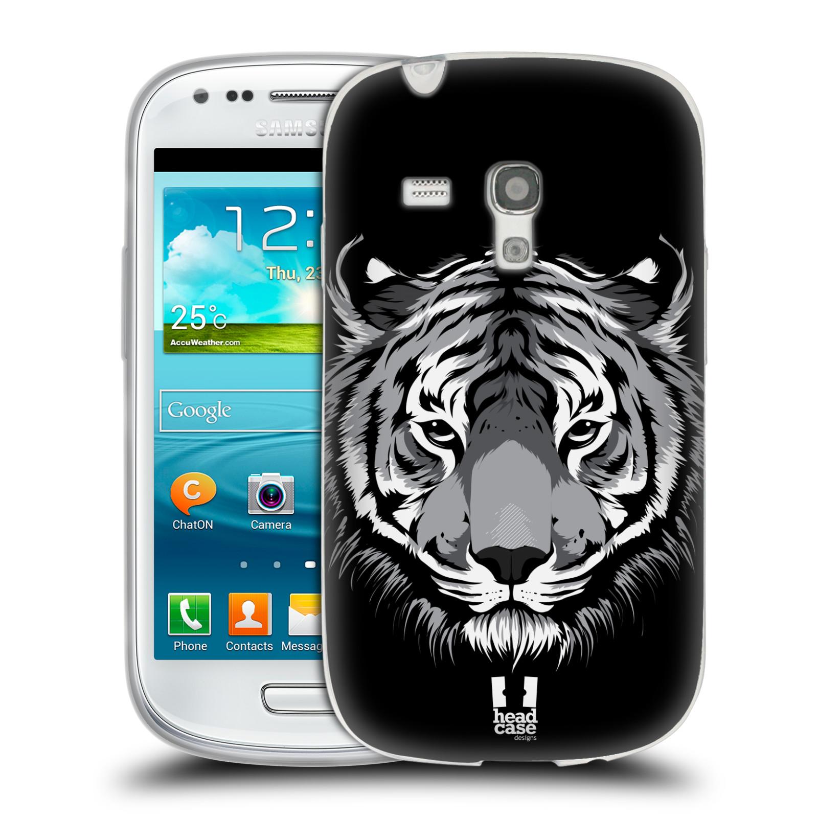 HEAD CASE silikonový obal na mobil Samsung Galaxy S3 MINI i8190 vzor Zvíře kreslená tvář 2 tygr