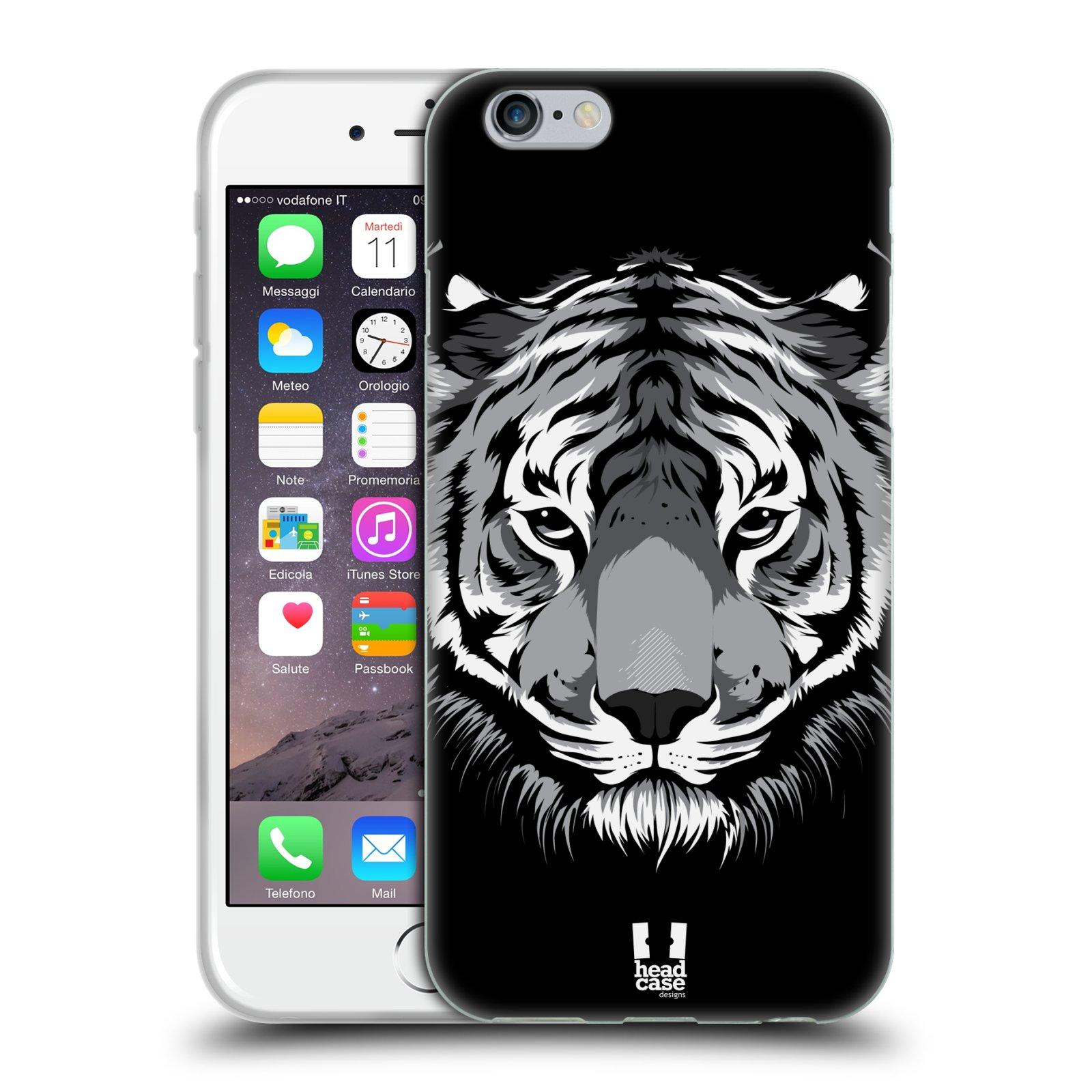 HEAD CASE silikonový obal na mobil Apple Iphone 6/6S vzor Zvíře kreslená tvář 2 tygr