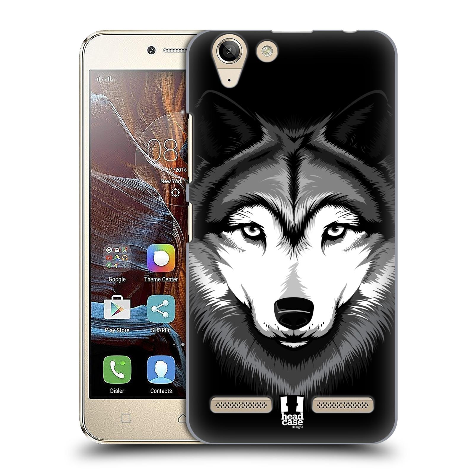 HEAD CASE plastový obal na mobil Lenovo Vibe K5 / Lenovo Vibe K5 PLUS vzor Zvíře kreslená tvář 2 vlk