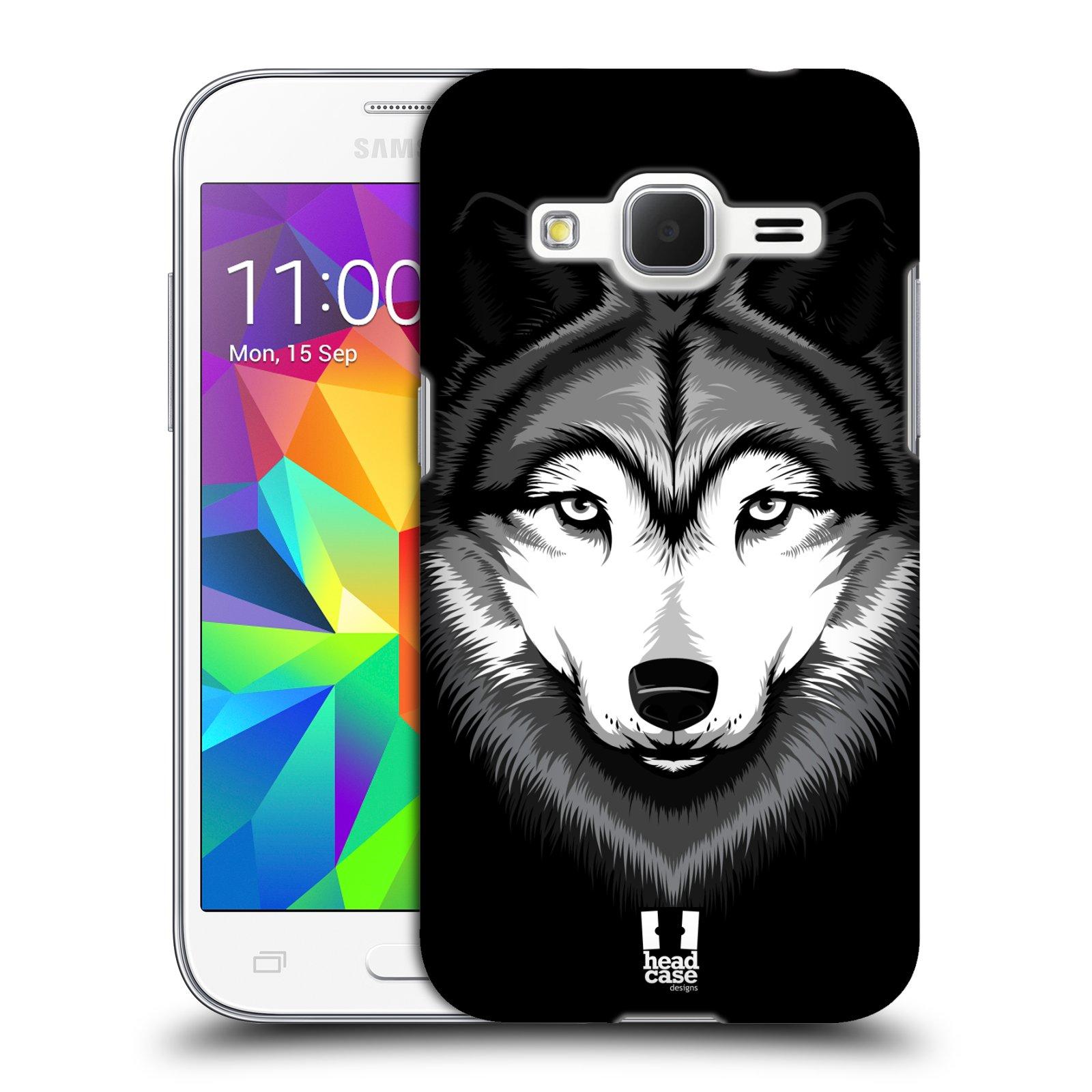 HEAD CASE plastový obal na mobil SAMSUNG GALAXY Core Prime (Core Prime VE) vzor Zvíře kreslená tvář 2 vlk