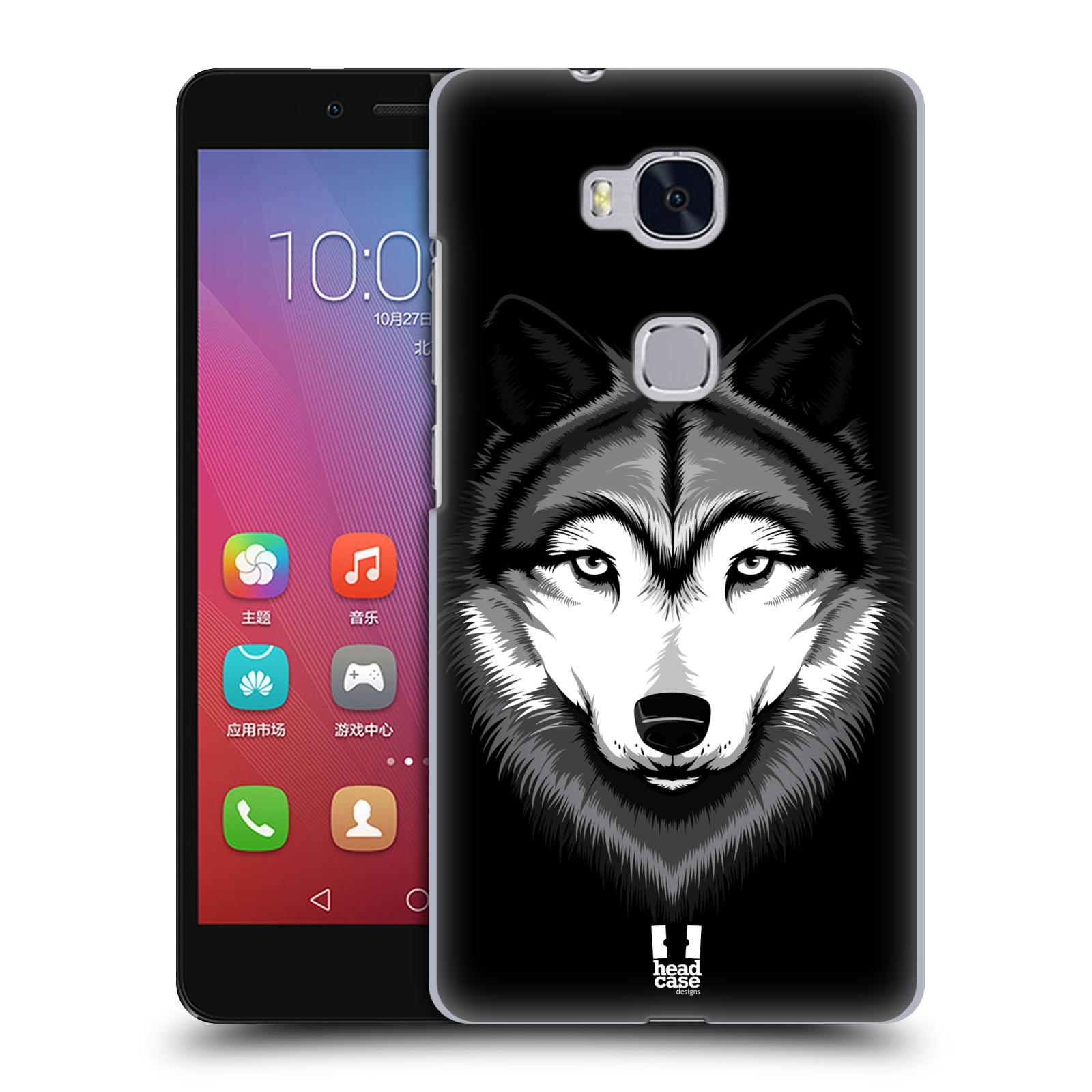 HEAD CASE pevný plastový obal na mobil HUAWEI HONOR 5X vzor Zvíře kreslená tvář 2 vlk