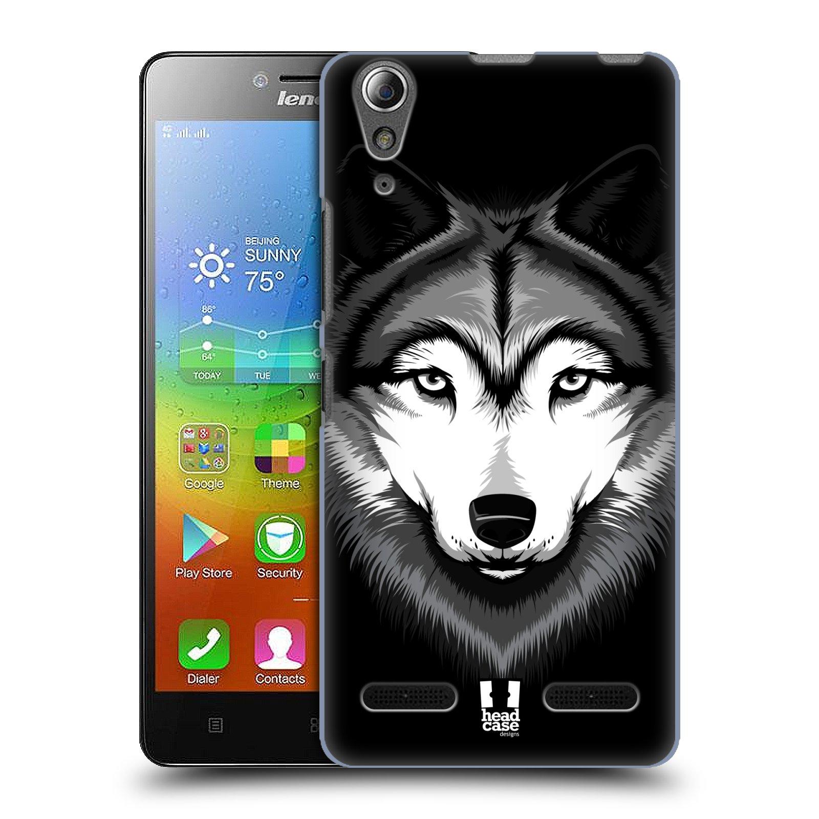 HEAD CASE pevný plastový obal na mobil LENOVO A6000 / A6000 PLUS vzor Zvíře kreslená tvář 2 vlk