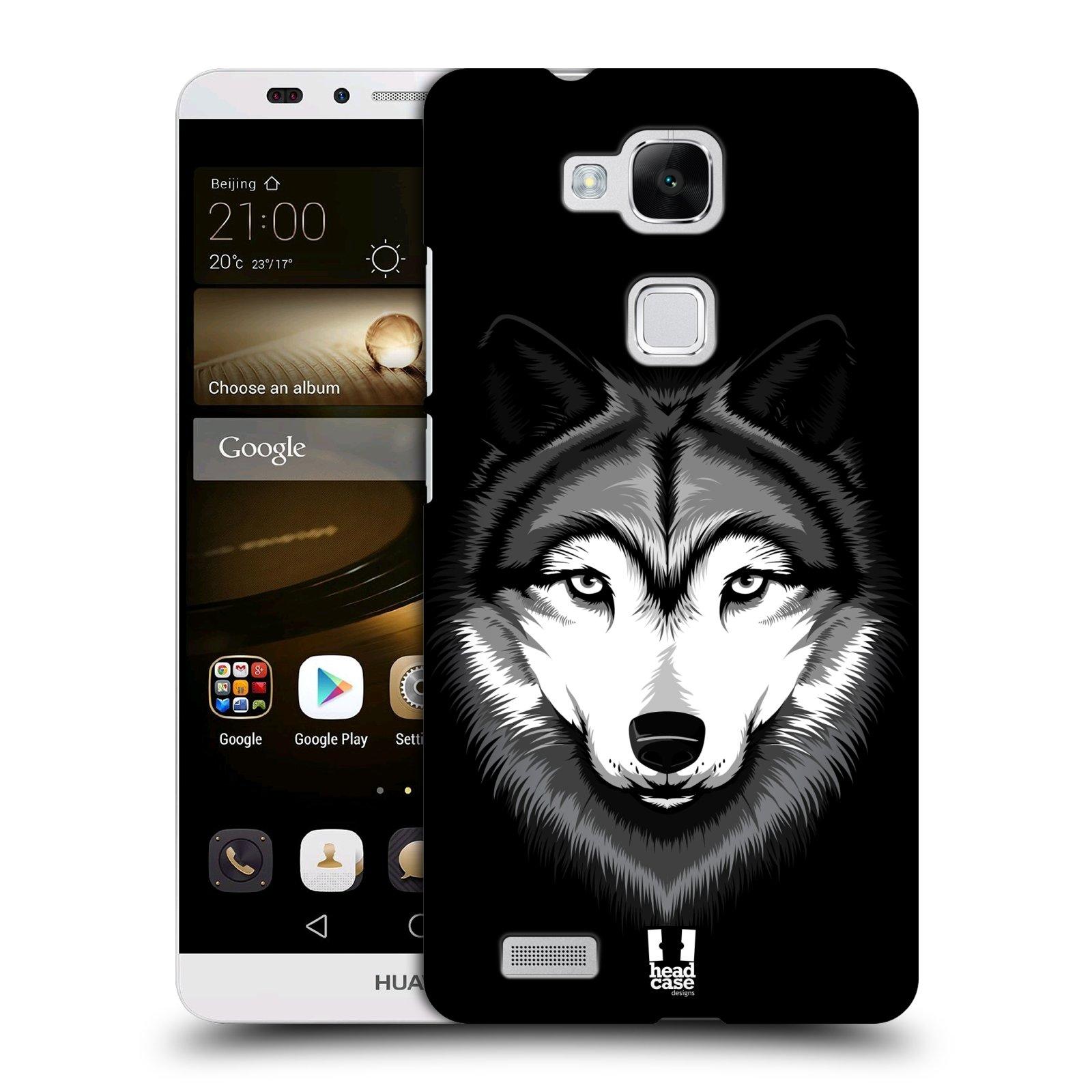 HEAD CASE plastový obal na mobil Huawei Mate 7 vzor Zvíře kreslená tvář 2 vlk