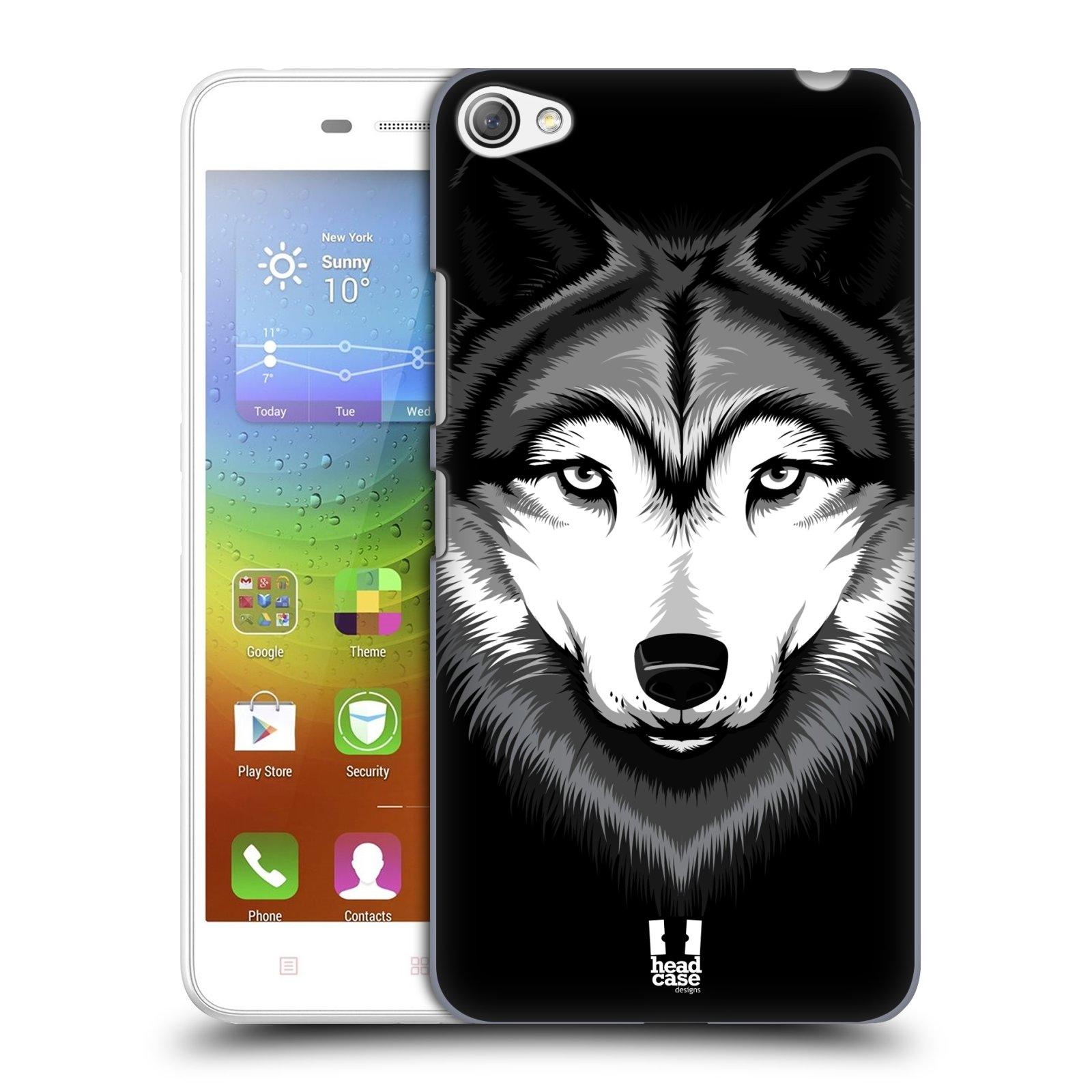 HEAD CASE pevný plastový obal na mobil LENOVO S60 / LENOVO S60 DUAL SIM vzor Zvíře kreslená tvář 2 vlk