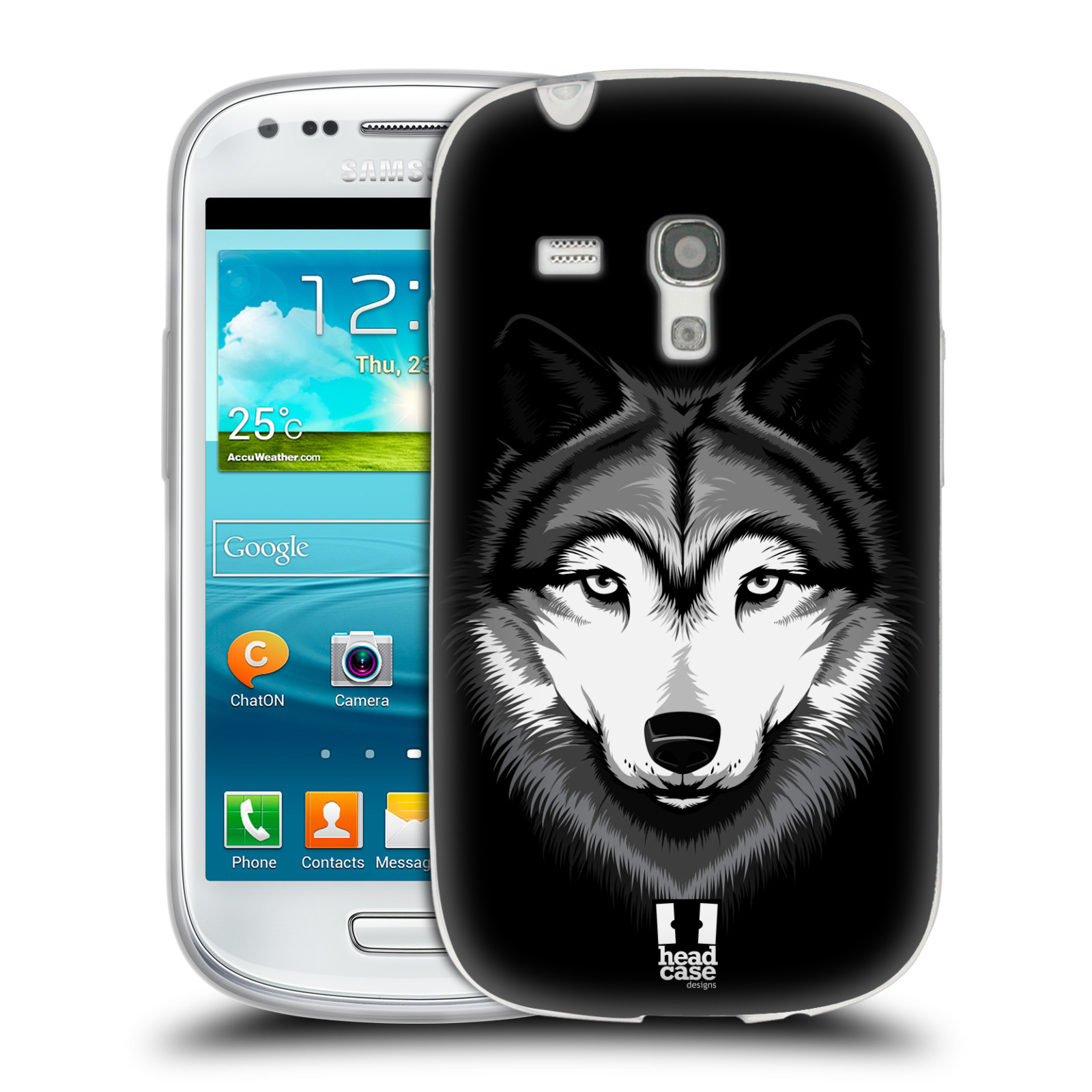 HEAD CASE silikonový obal na mobil Samsung Galaxy S3 MINI i8190 vzor Zvíře kreslená tvář 2 vlk