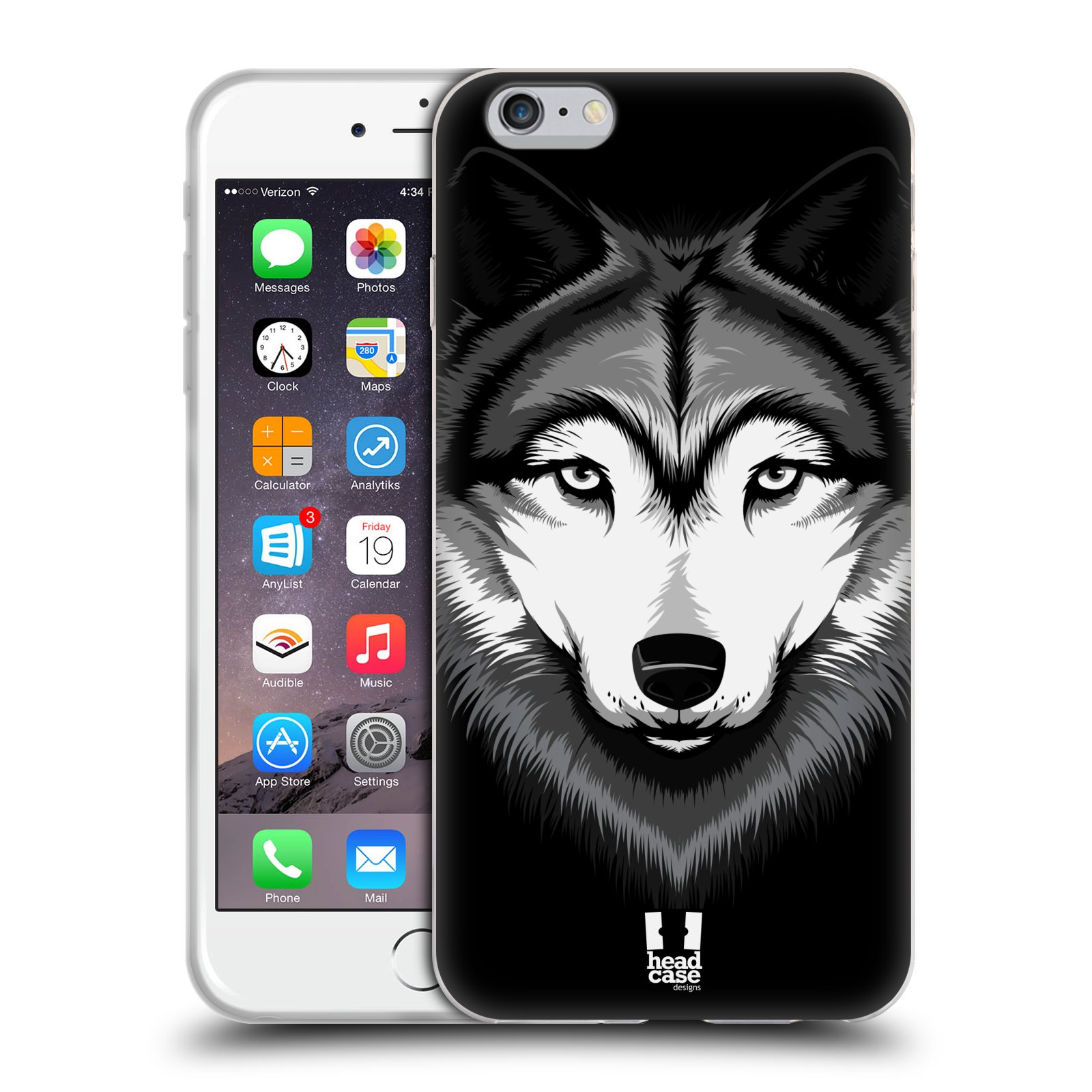 HEAD CASE silikonový obal na mobil Apple Iphone 6 PLUS/ 6S PLUS vzor Zvíře kreslená tvář 2 vlk
