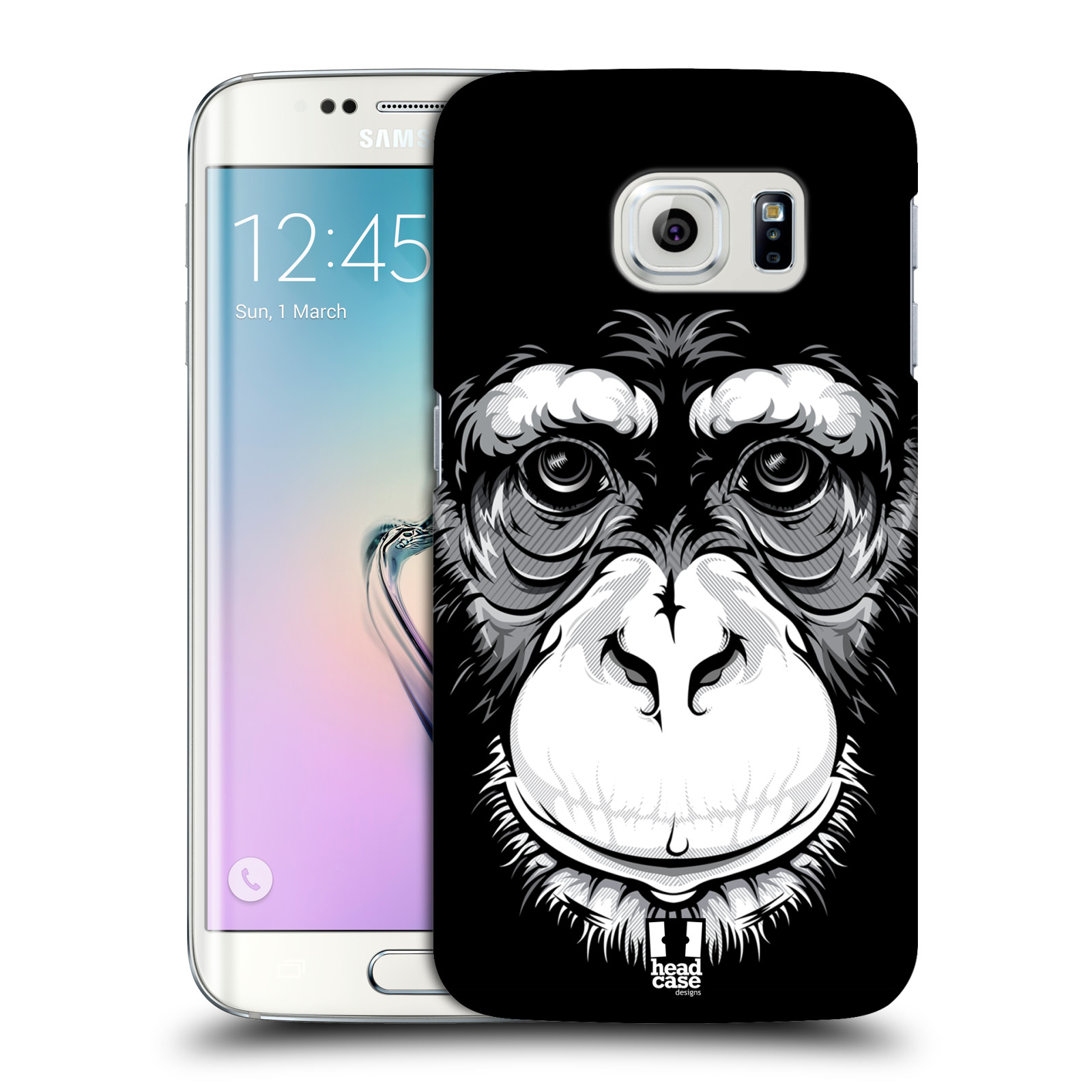 HEAD CASE plastový obal na mobil SAMSUNG Galaxy S6 EDGE (G9250, G925, G925F) vzor Zvíře kreslená tvář šimpanz