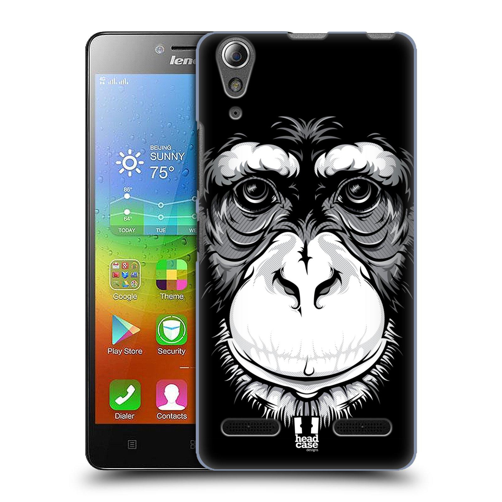 HEAD CASE pevný plastový obal na mobil LENOVO A6000 / A6000 PLUS vzor Zvíře kreslená tvář šimpanz