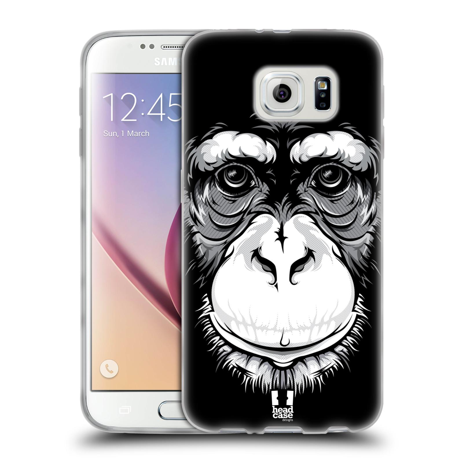 HEAD CASE silikonový obal na mobil Samsung Galaxy S6 vzor Zvíře kreslená tvář šimpanz