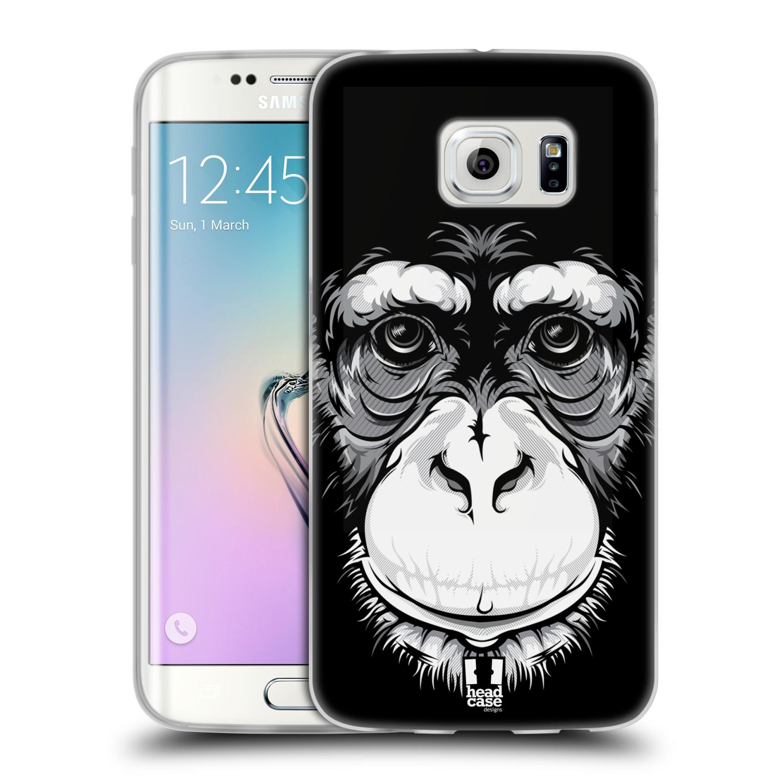 HEAD CASE silikonový obal na mobil Samsung Galaxy S6 EDGE vzor Zvíře kreslená tvář šimpanz