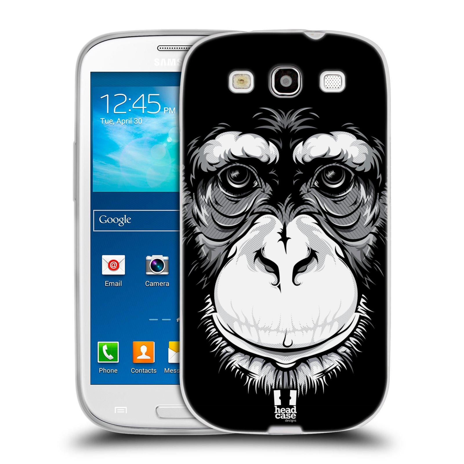 HEAD CASE silikonový obal na mobil Samsung Galaxy S3 i9300 vzor Zvíře kreslená tvář šimpanz