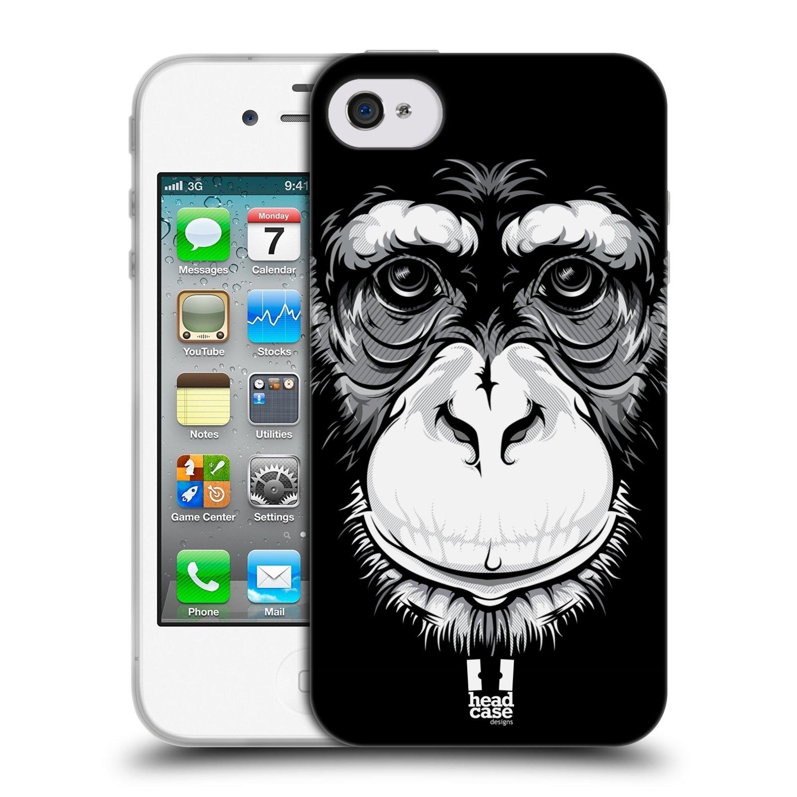 HEAD CASE silikonový obal na mobil Apple Iphone 4/4S vzor Zvíře kreslená tvář šimpanz